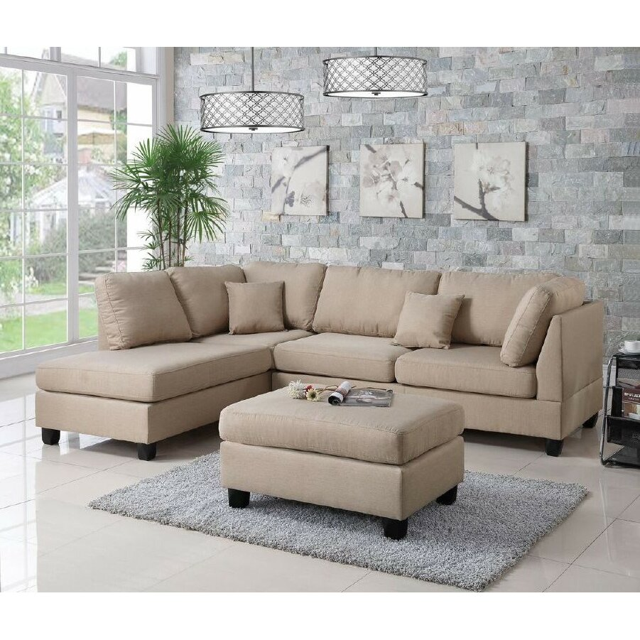 Infini Furnishings Reversible Chaise Sectional INF760JBW IFIN1021