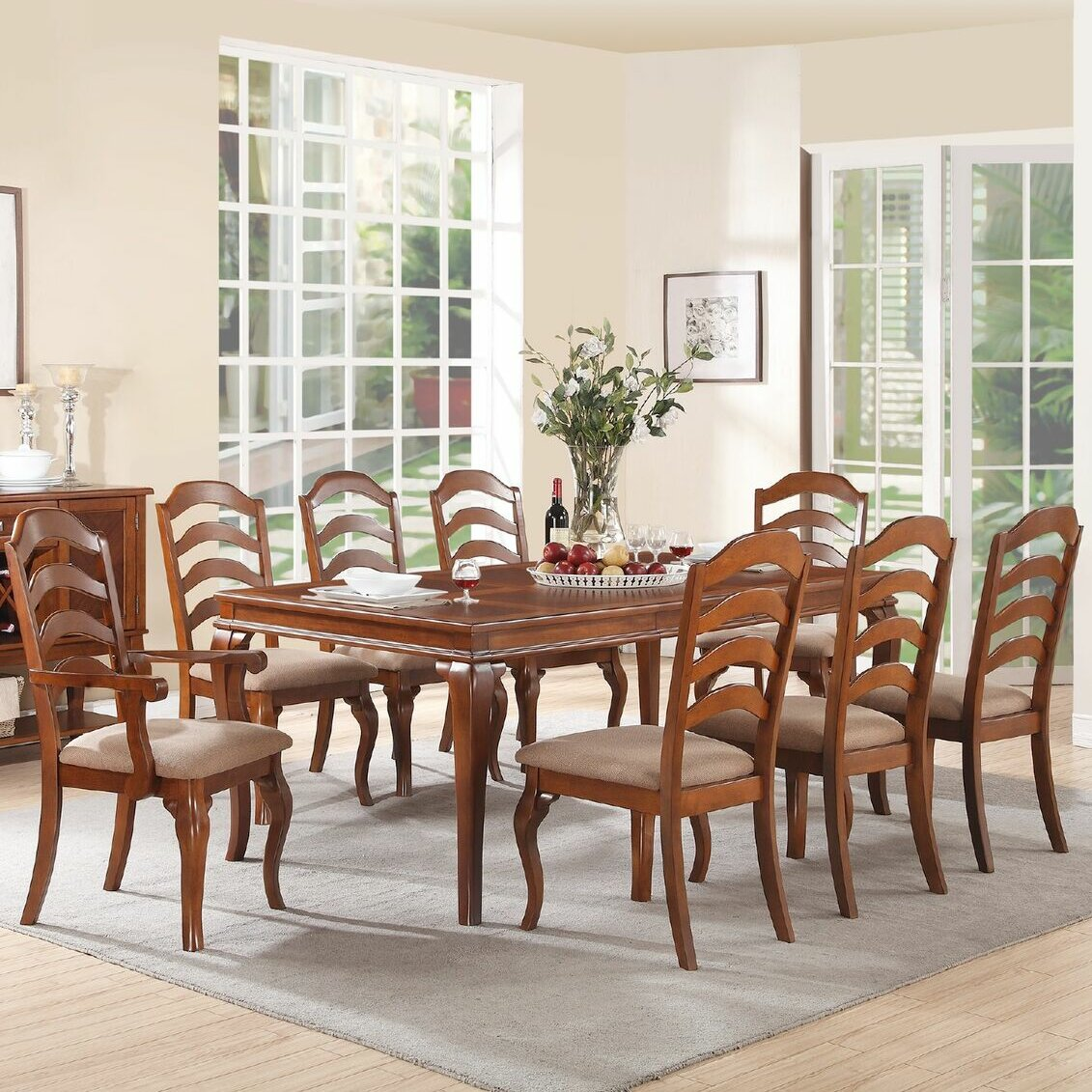 Infini furnishings flavien 9 piece dining set reviews for Dining room furniture 9 piece
