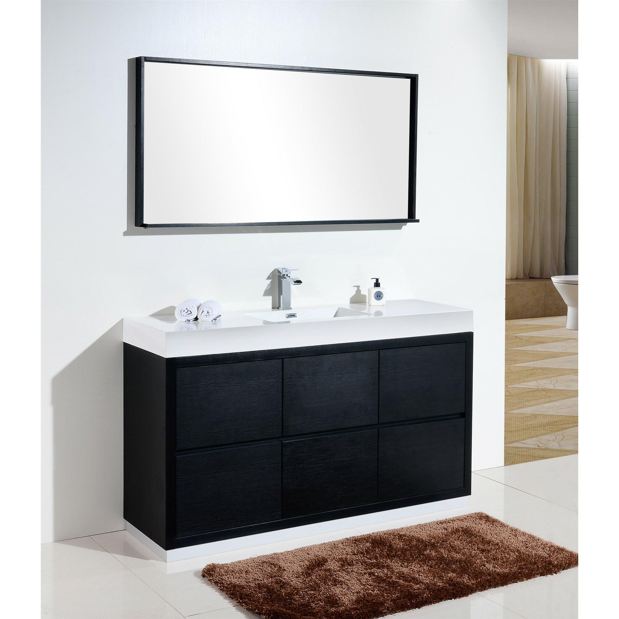 Kube bath bliss 60 single free standing modern bathroom vanity set reviews wayfair for Free standing bathroom vanities