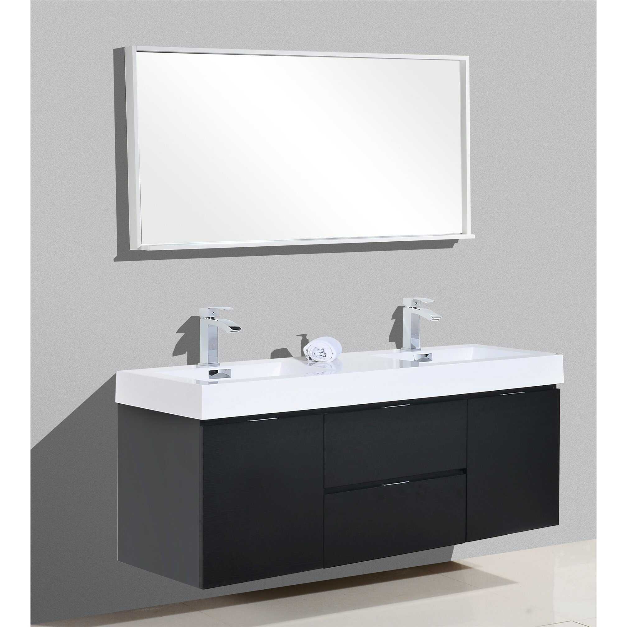 Kube bath bliss 60 double wall mount modern bathroom for Bath and vanity set