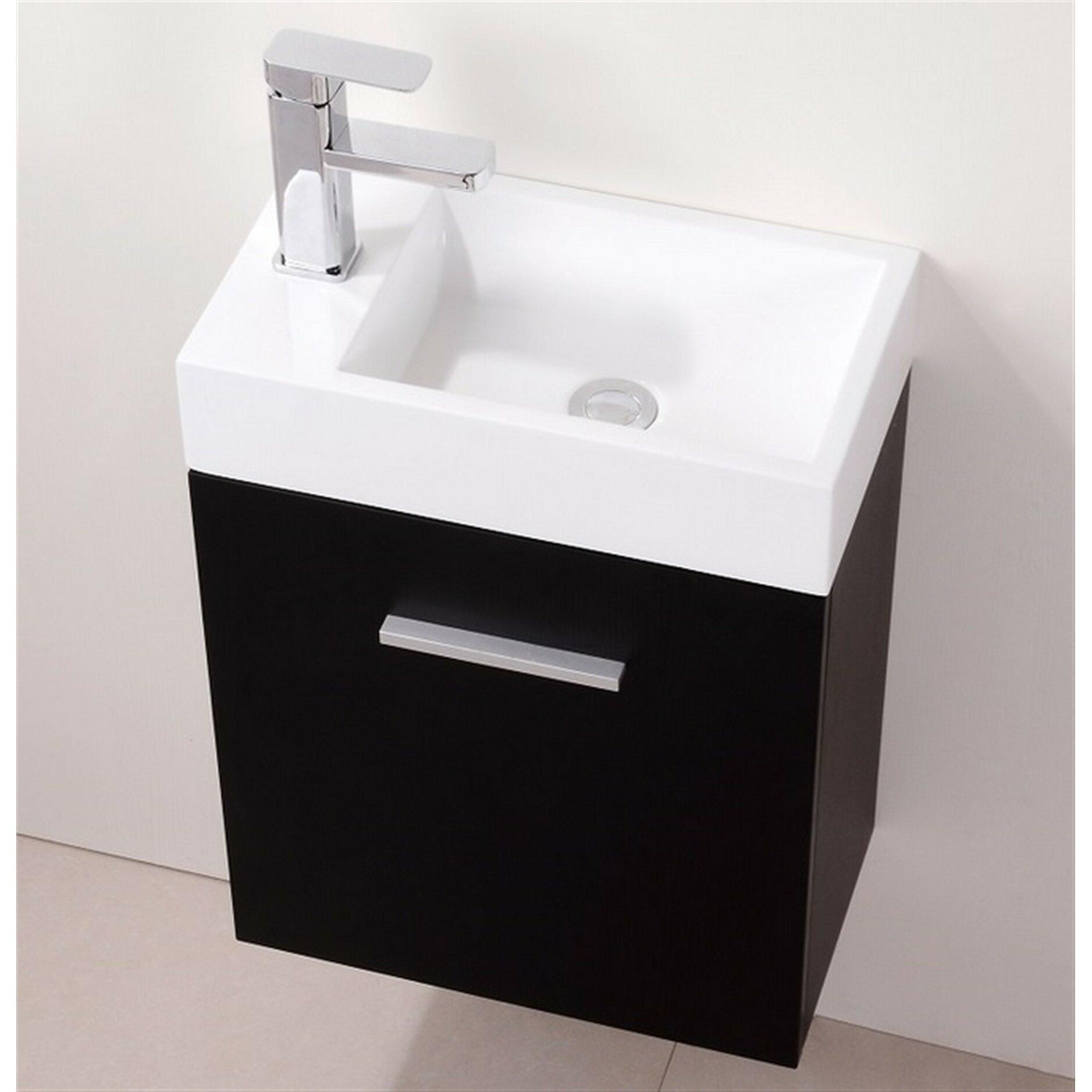 Kube bath bliss 18 single wall mount modern bathroom for Bath and vanity set