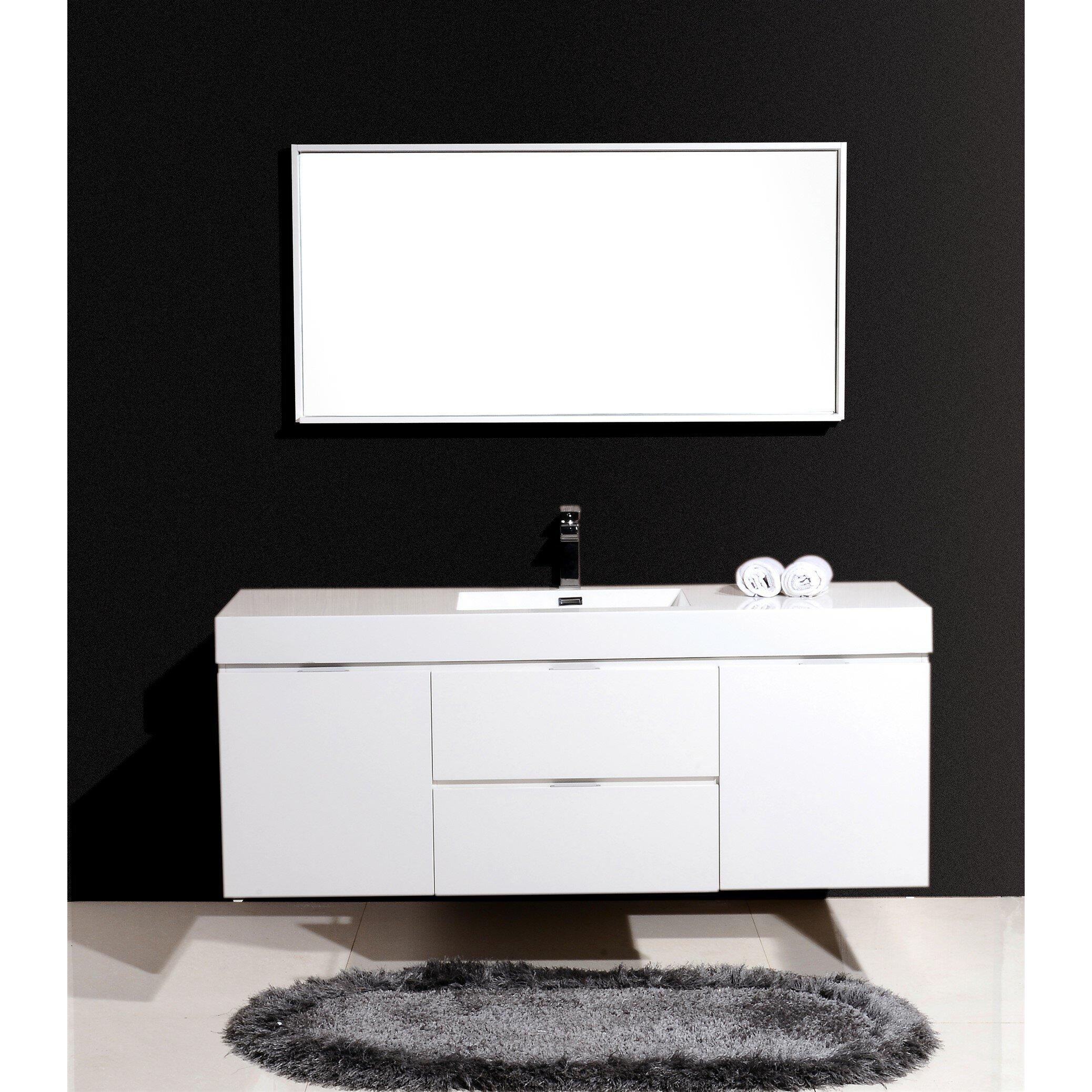 Kube bath bliss 60 single wall mount modern bathroom vanity set reviews wayfair - Linden modern bathroom vanity set ...
