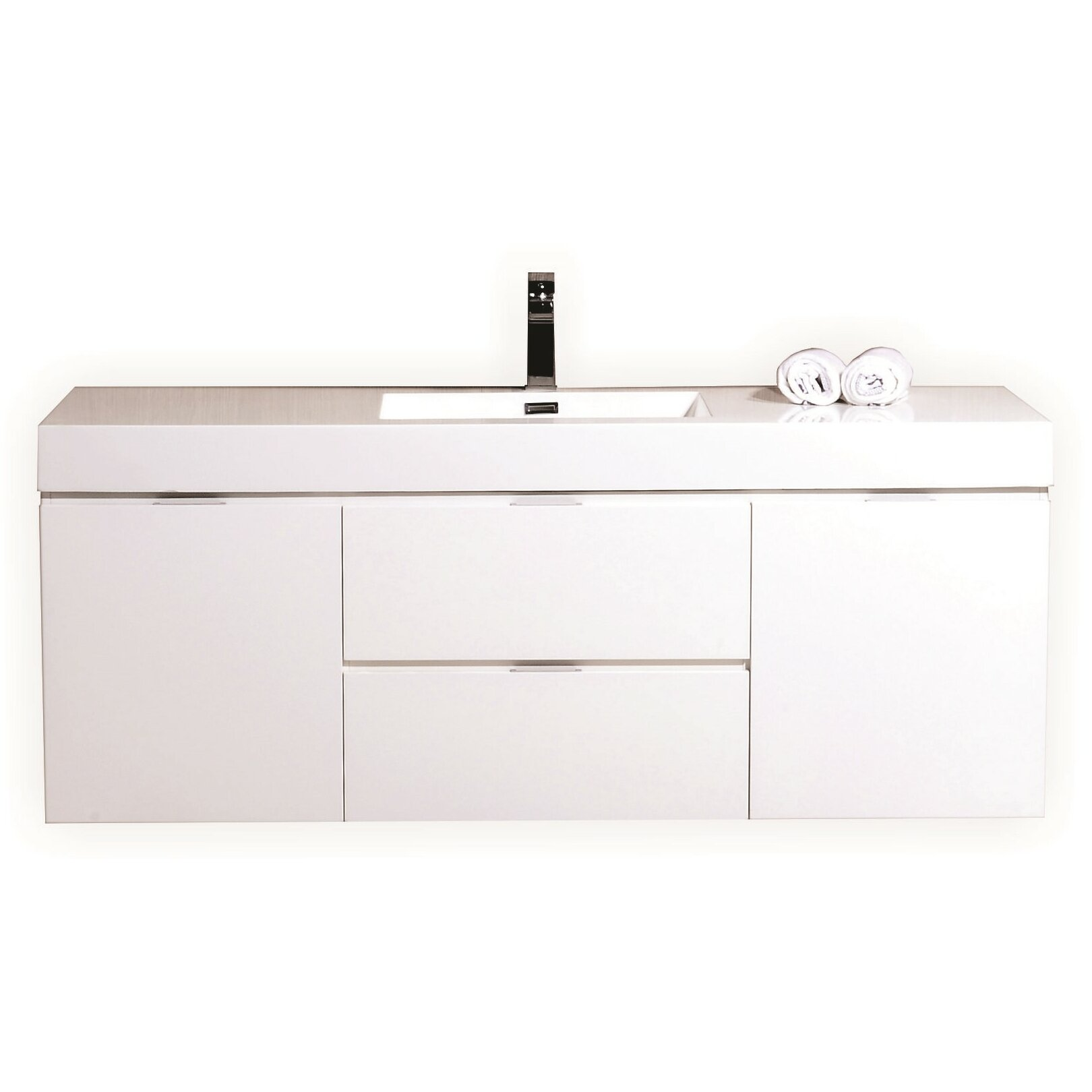Kube bath bliss 60 single wall mount modern bathroom vanity set reviews wayfair - Kona modern bathroom vanity set ...