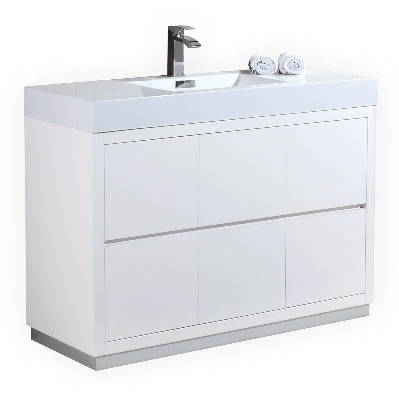 Kube bath bliss 48 single free standing modern bathroom - Contemporary bathroom vanity sets ...