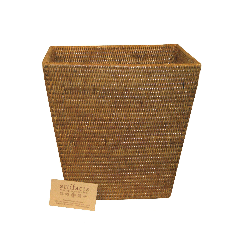 Artifacts trading rattan rectangular taper waste basket reviews wayfair supply - Rattan waste basket ...