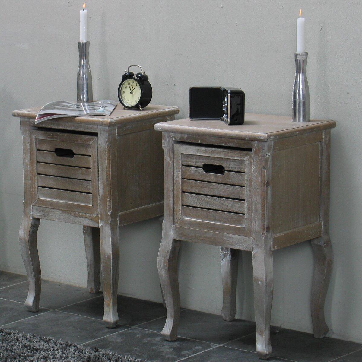 hazelwood home nachttisch set madrid mit schublade. Black Bedroom Furniture Sets. Home Design Ideas