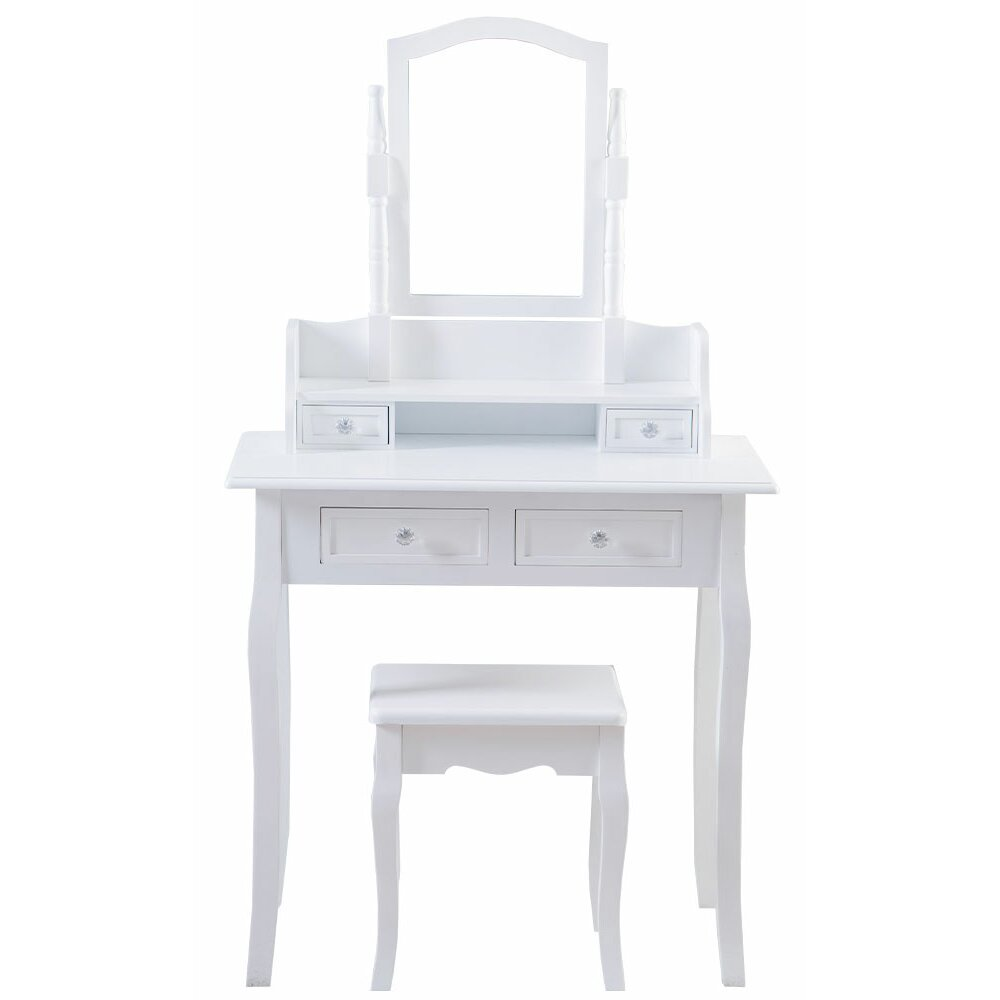 Wildon Home Vida Nishano Dressing Table Set With Mirror Reviews Wayfair Uk