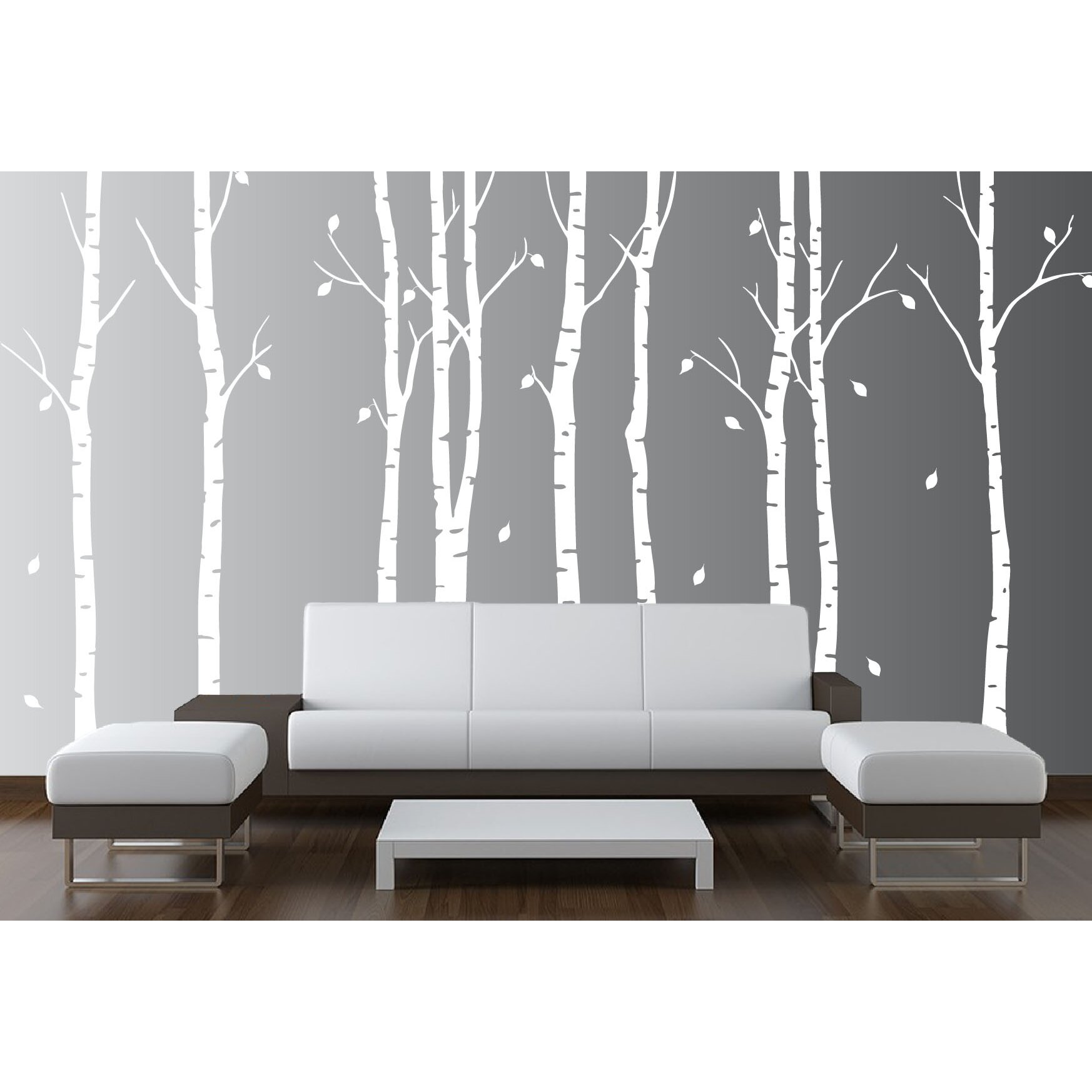 innovative stencils birch tree nursery forest vinyl sticker wall decal reviews wayfair. Black Bedroom Furniture Sets. Home Design Ideas