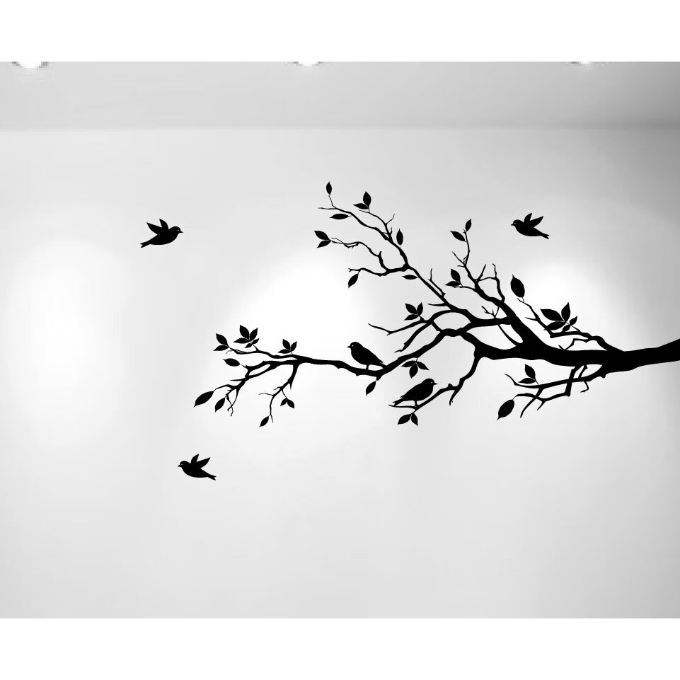 Bird on a branch stencil birds of prey tree and bird stencil tree wall stickers love birds branches with leaves and love birds amipublicfo Gallery