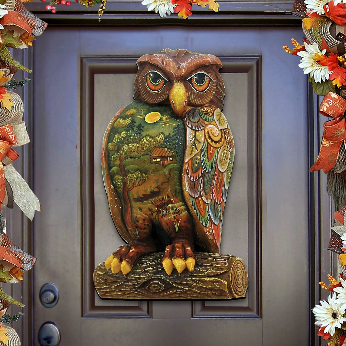 Decorative Door Hangers Authentic Monogram Custom Art Woodsy Night Owl Wooden Decorative