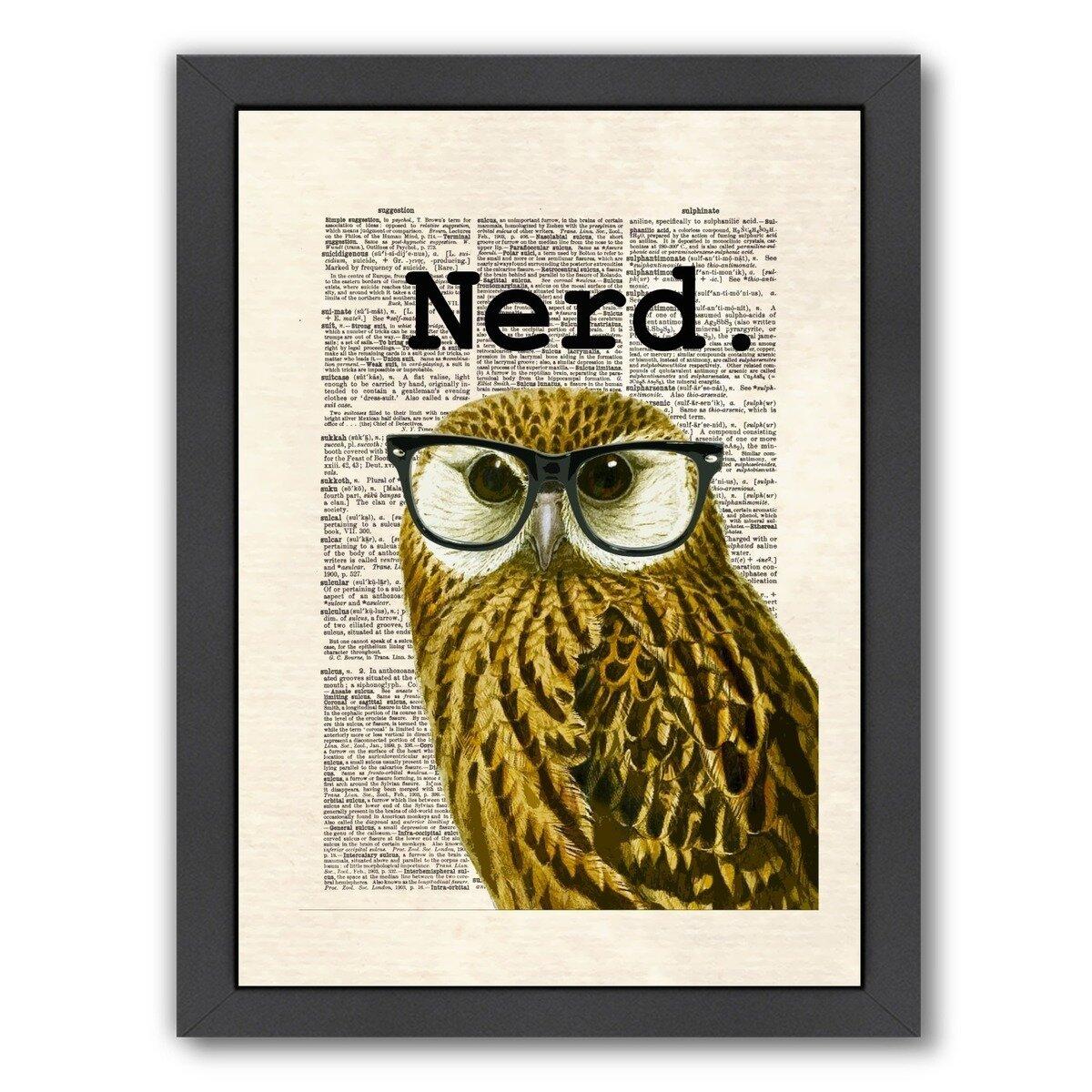 East Urban Home Owl Nerd By Matt Dinniman Framed Graphic Art Reviews