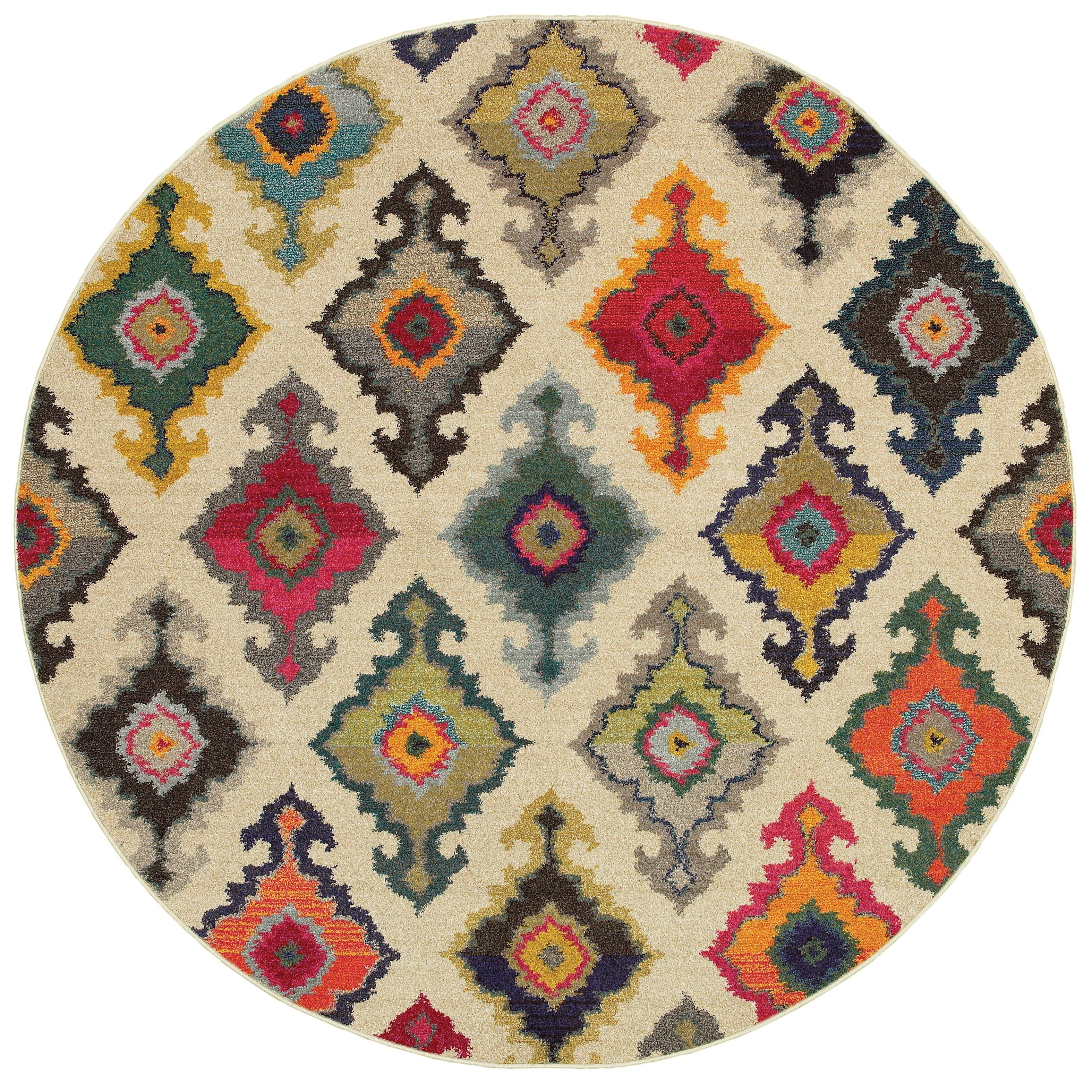 Rug Kaleidoscope Runner: The Conestoga Trading Co. Aura Tribal Ivory/Multi Area Rug
