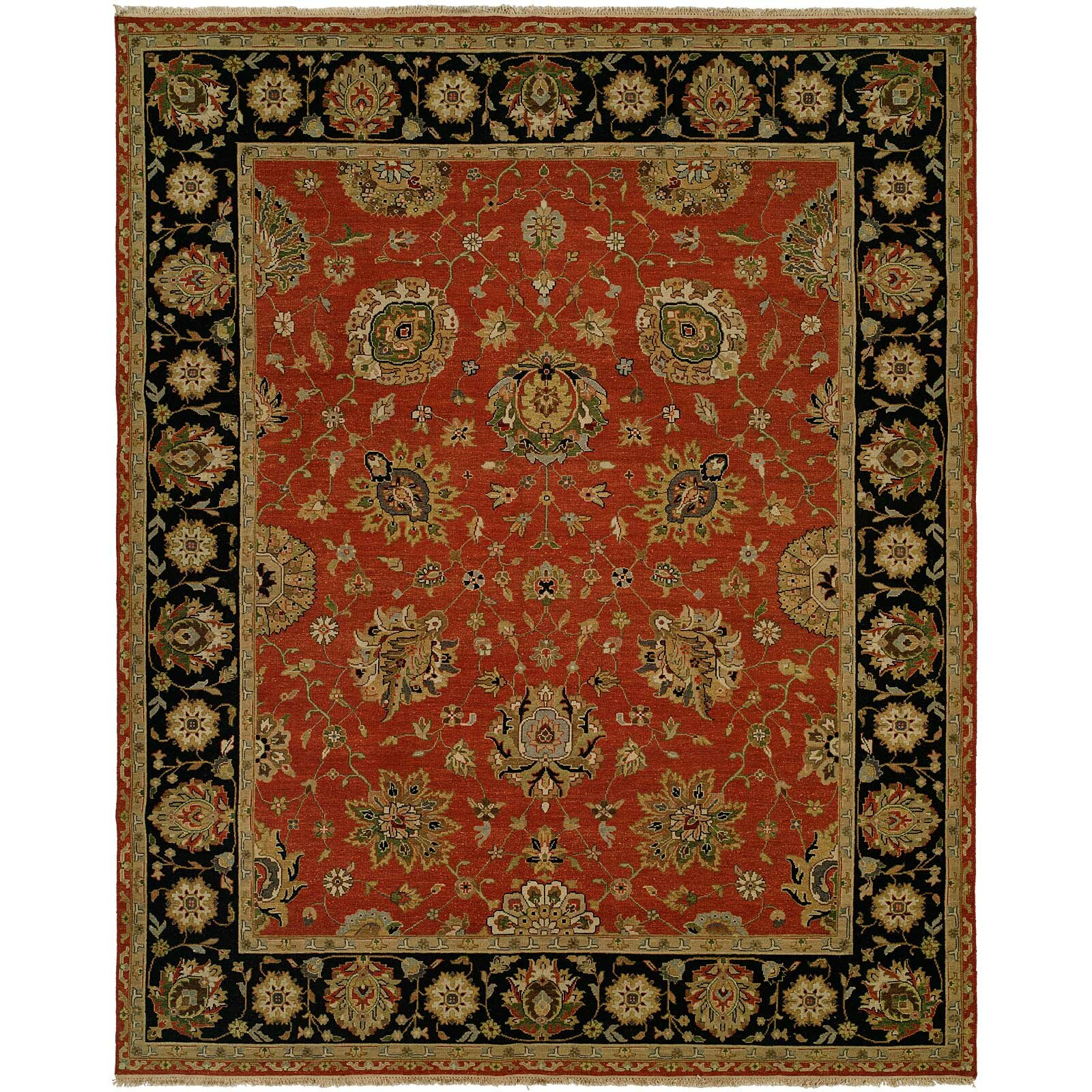 Dog Eating Wool Rug: Meridian Rugmakers Forbesganj Hand-Knotted Rust/Black Area