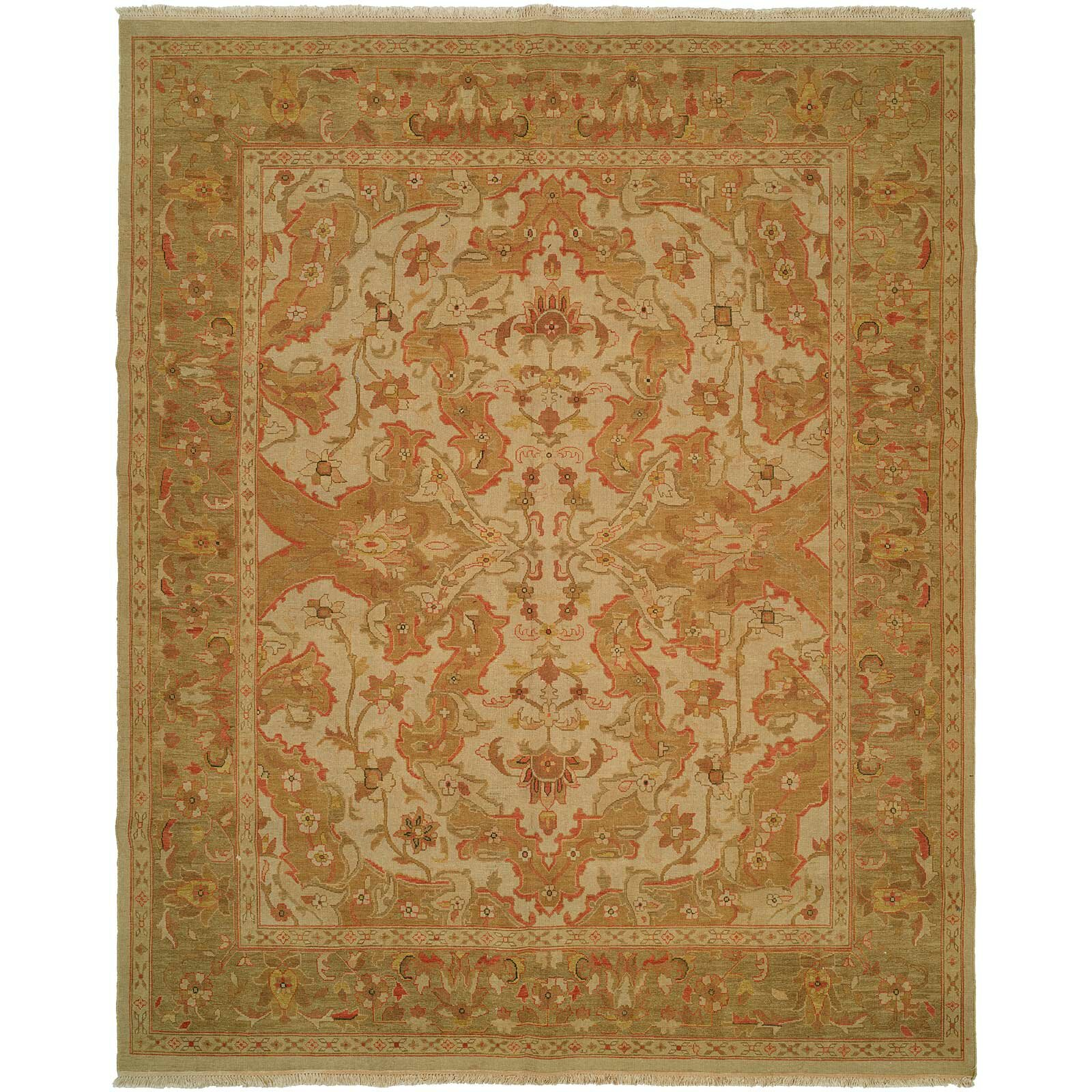 Meridian Rugmakers Hand-Knotted Beige/Soft Gold Area Rug