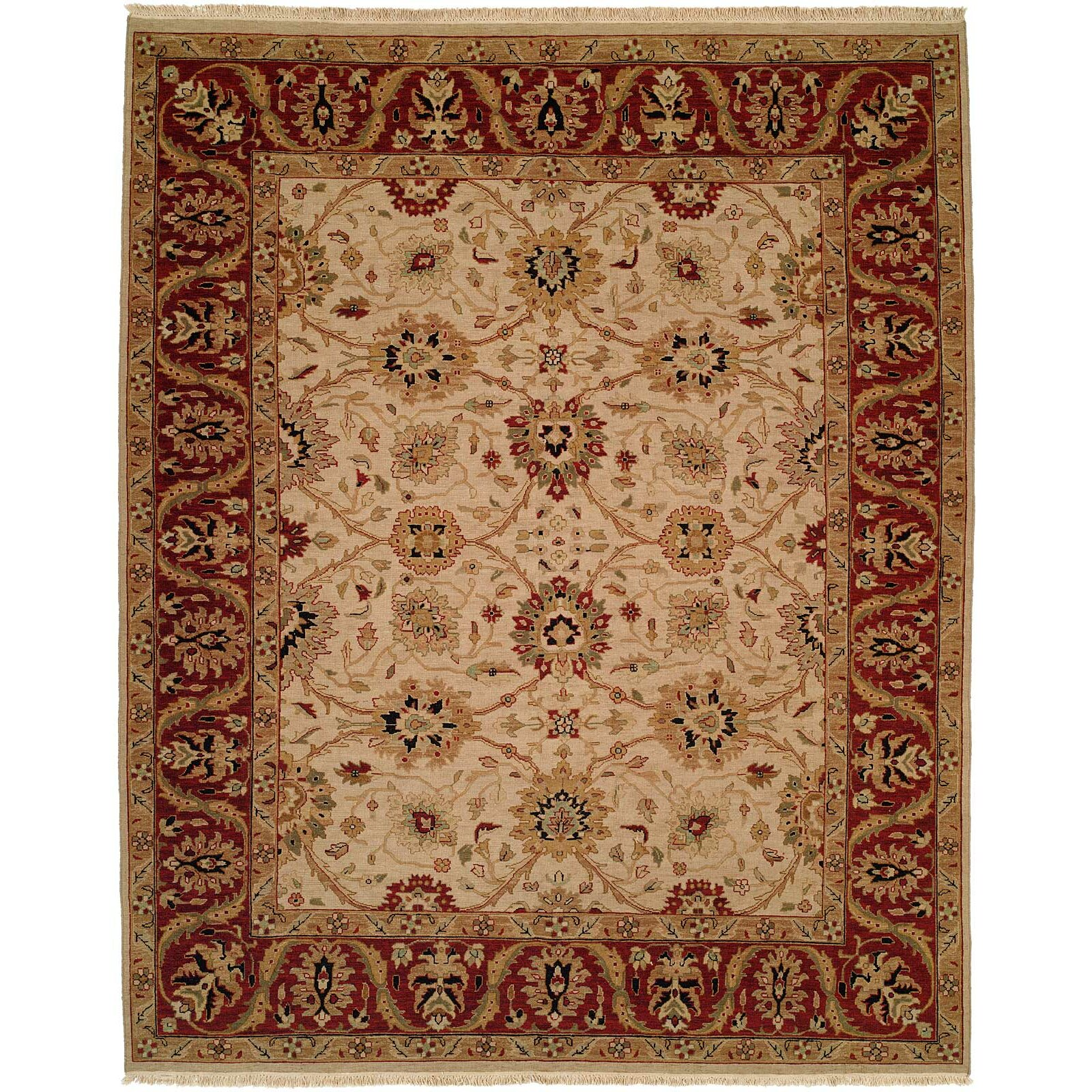 meridian rugmakers hand knotted beige red area rug wayfair. Black Bedroom Furniture Sets. Home Design Ideas