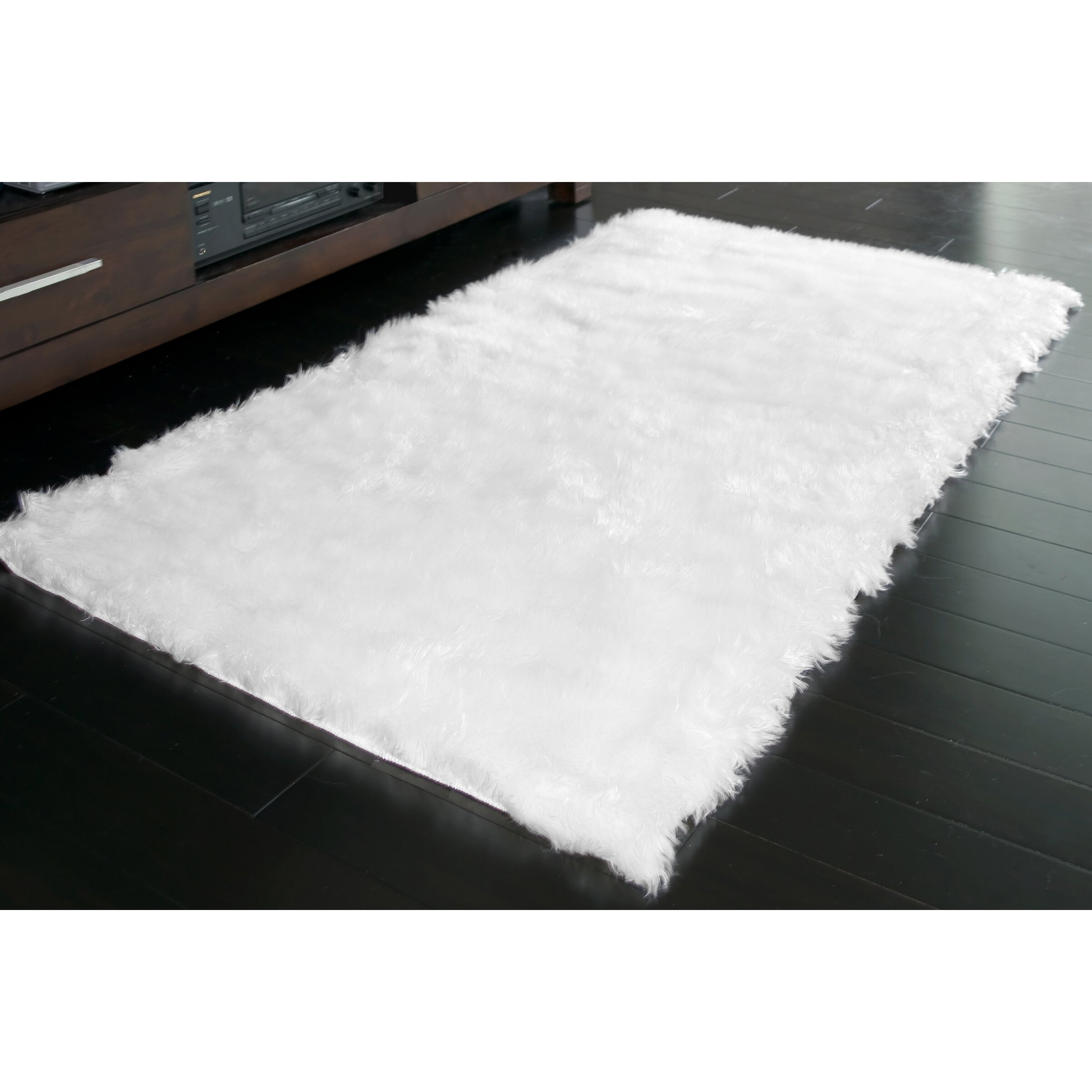 Glamour Home Decor White Area Rug & Reviews