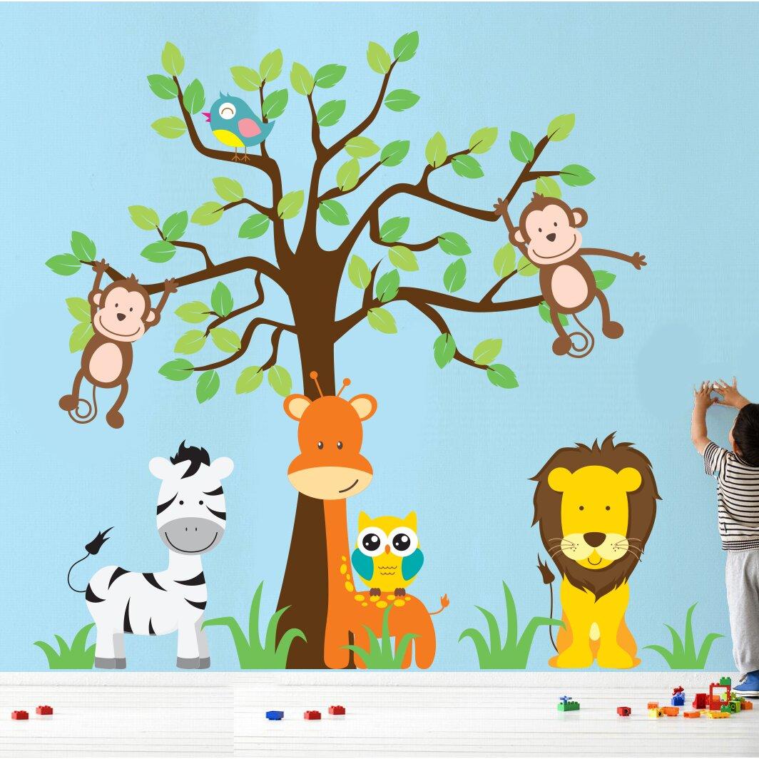 wall decal source nursery jungle tree giraffe and safari