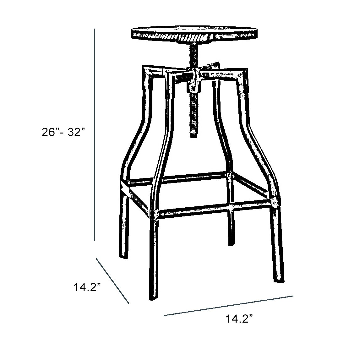 Design Lab Mn Machinist Adjustable Height Swivel Bar Stool