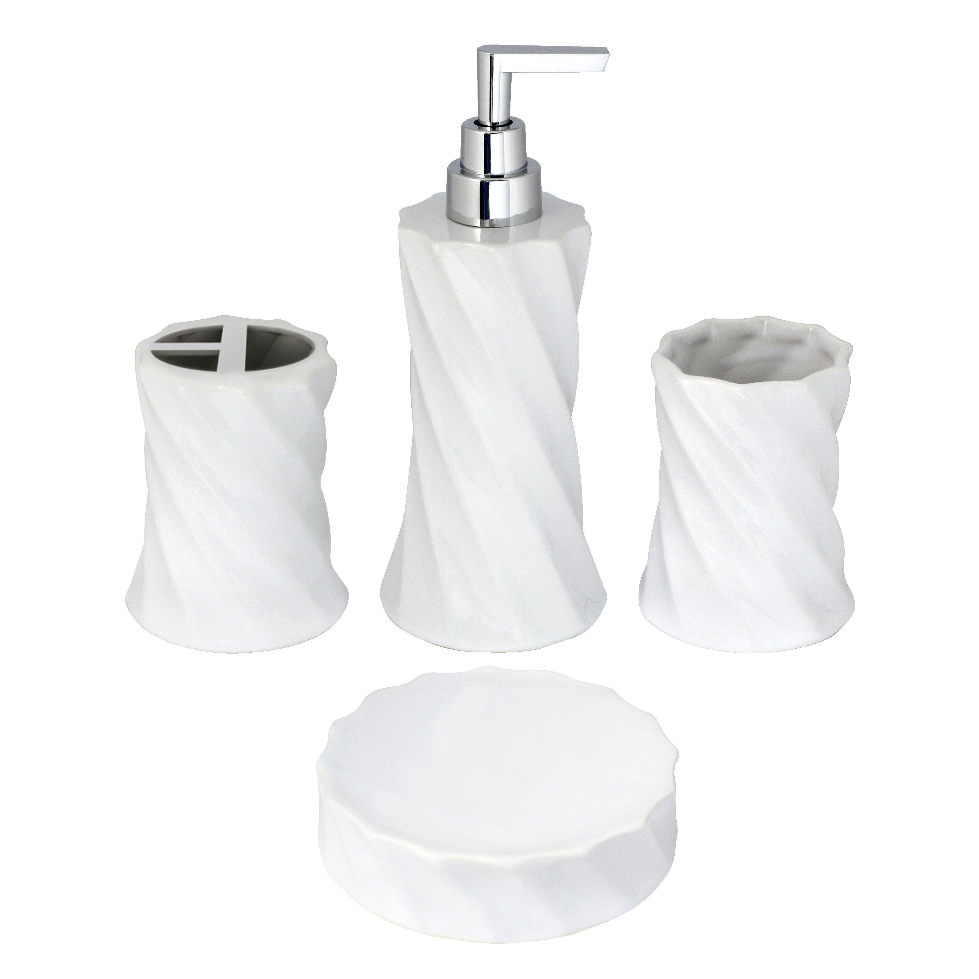 Modona flora porcelain 4 piece bathroom accessory set for Bathroom 4 piece set