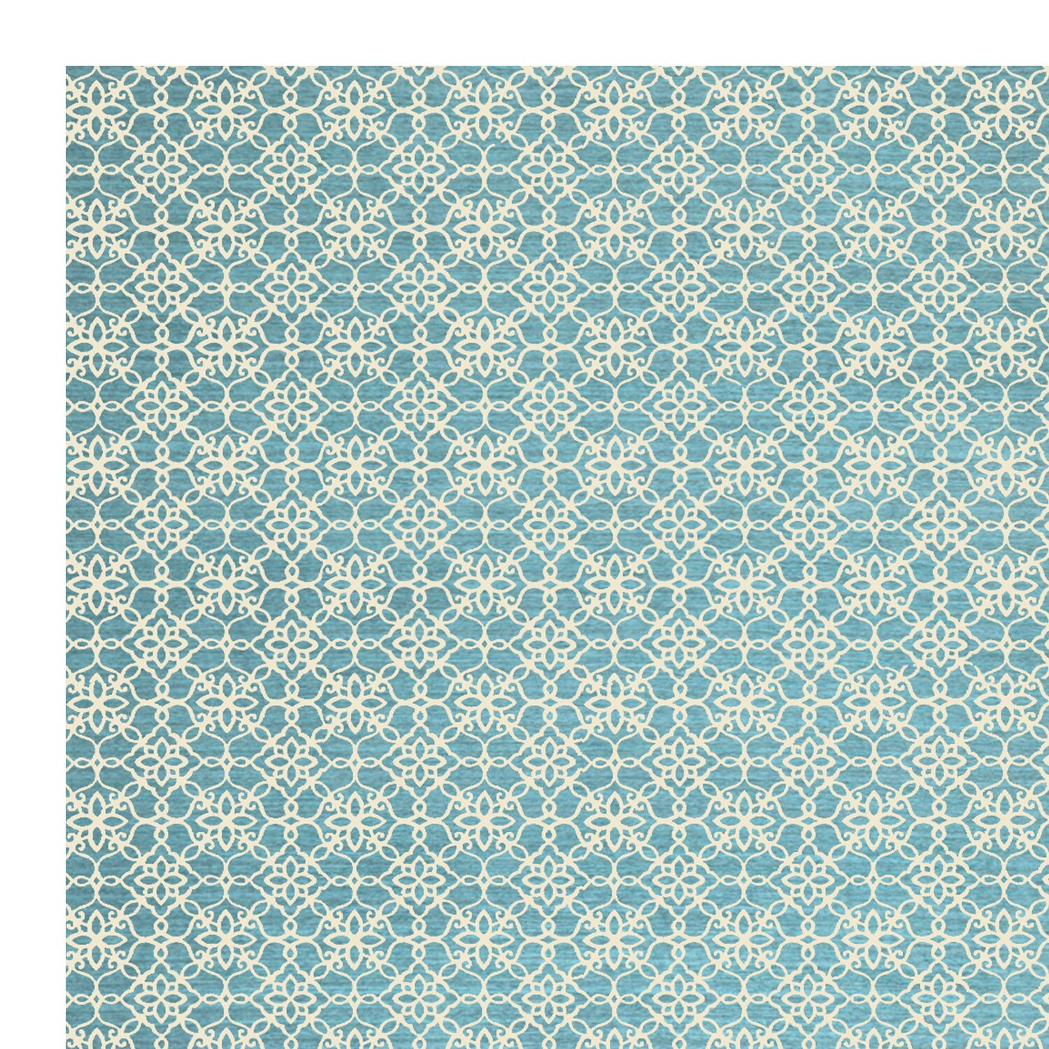 Ruggable aqua blue and white area rug reviews wayfair for Blue and white carpet