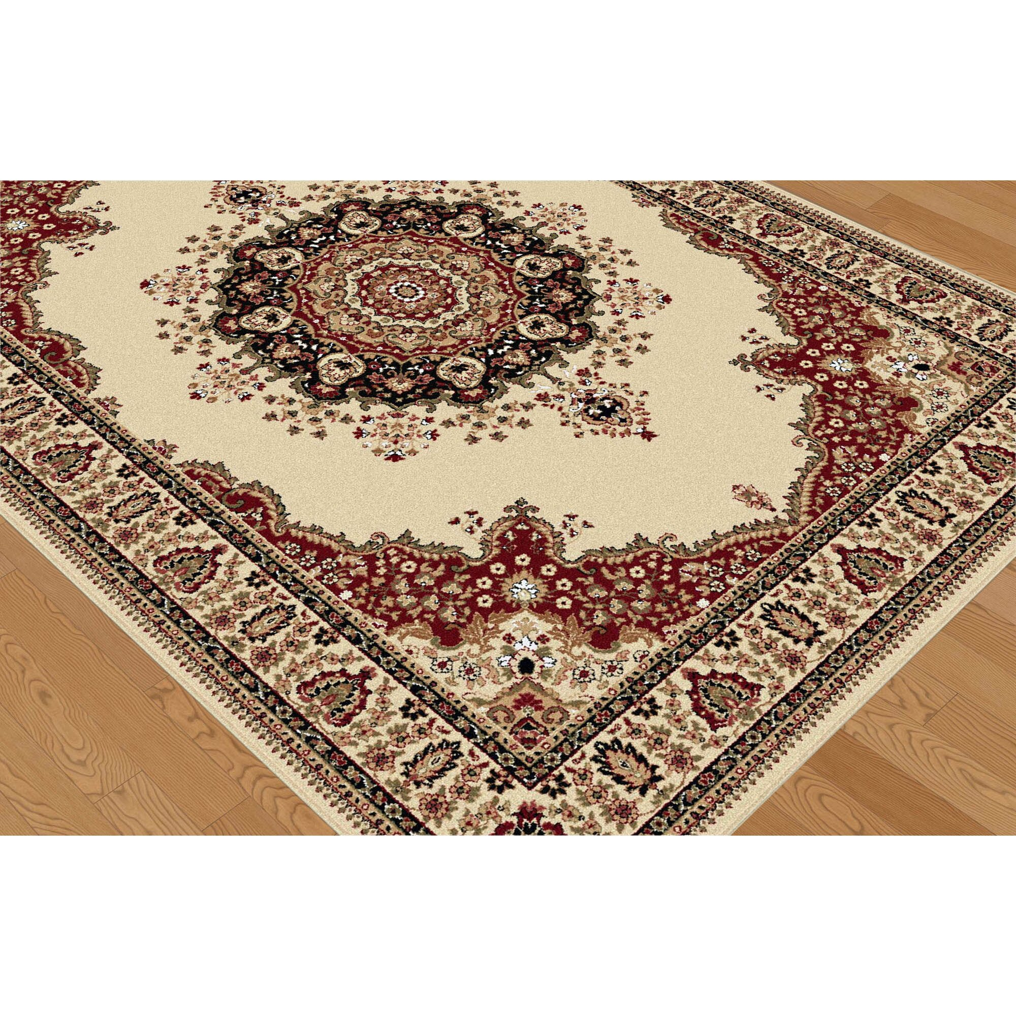 threadbind richmond ivory red area rug reviews wayfair