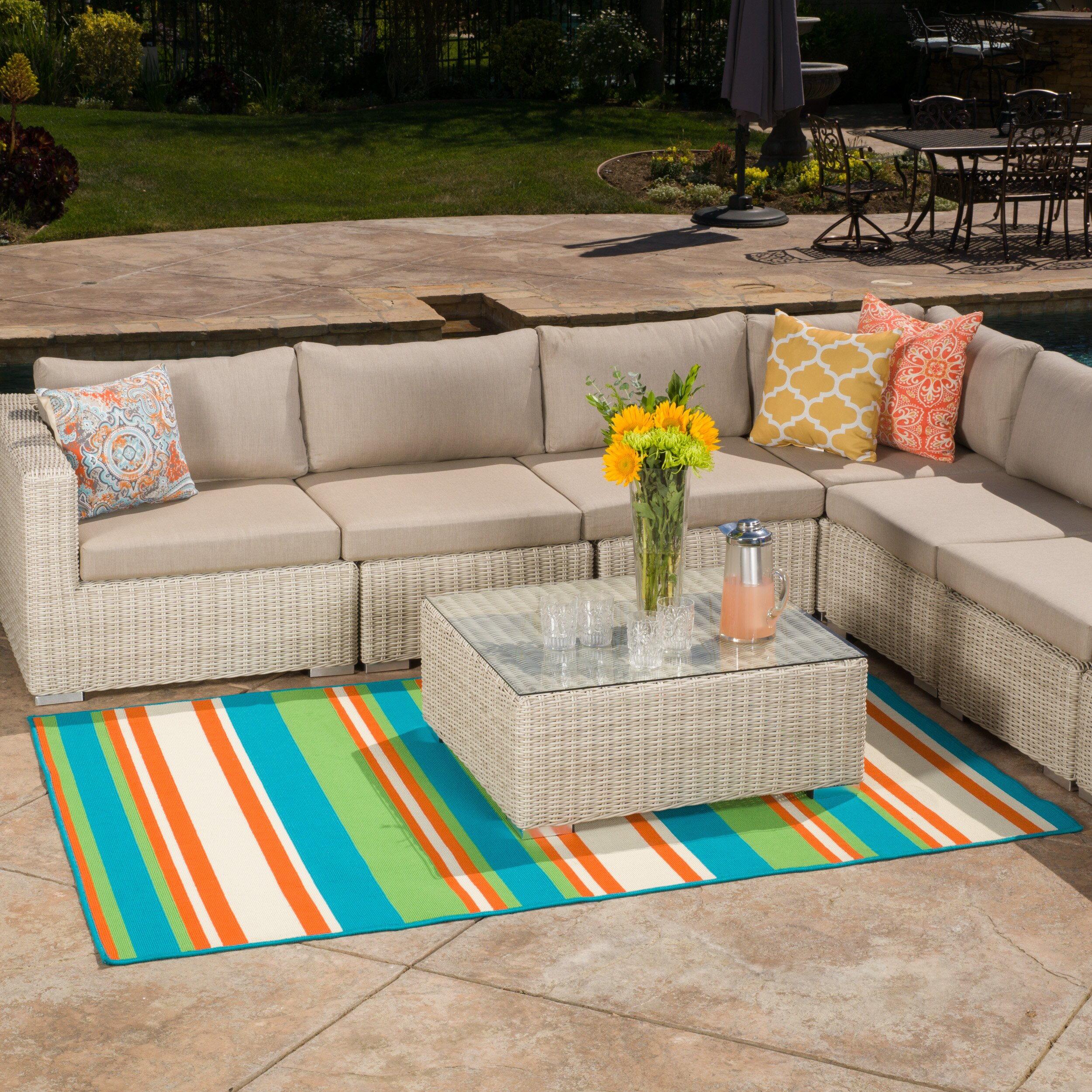 threadbind lindsay orange blue indoor outdoor area rug reviews wayfair. Black Bedroom Furniture Sets. Home Design Ideas