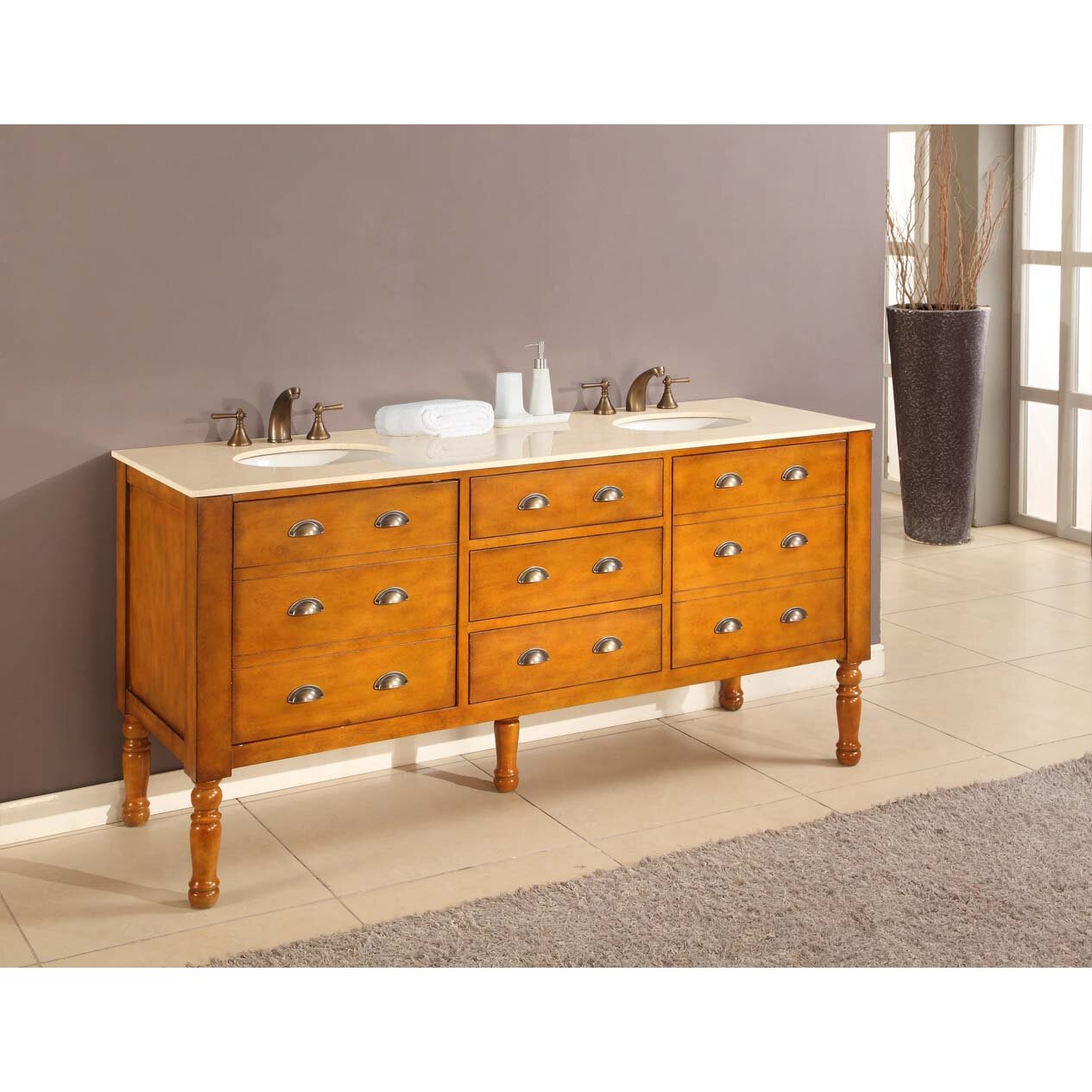 Direct Vanity Sink Harvest 70 Double Bathroom Vanity Set