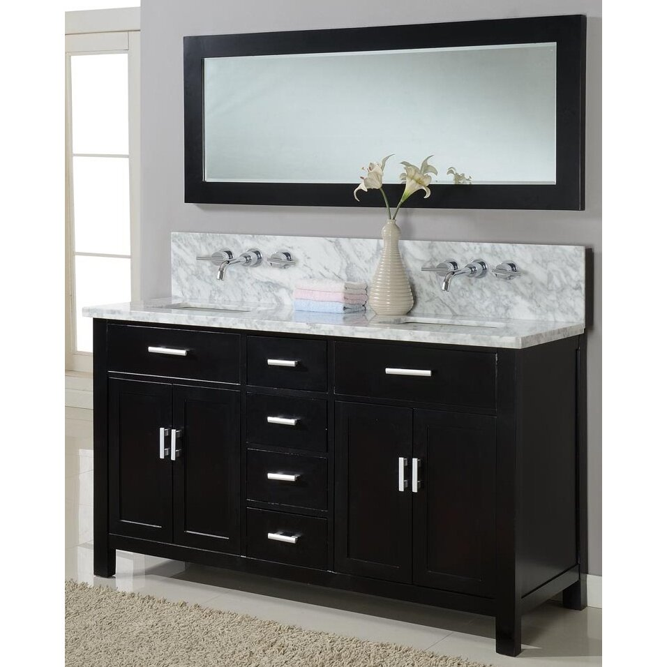 Direct Vanity Sink Hutton Spa 63 Double Premium Bathroom Vanity Set With Mirror Reviews Wayfair