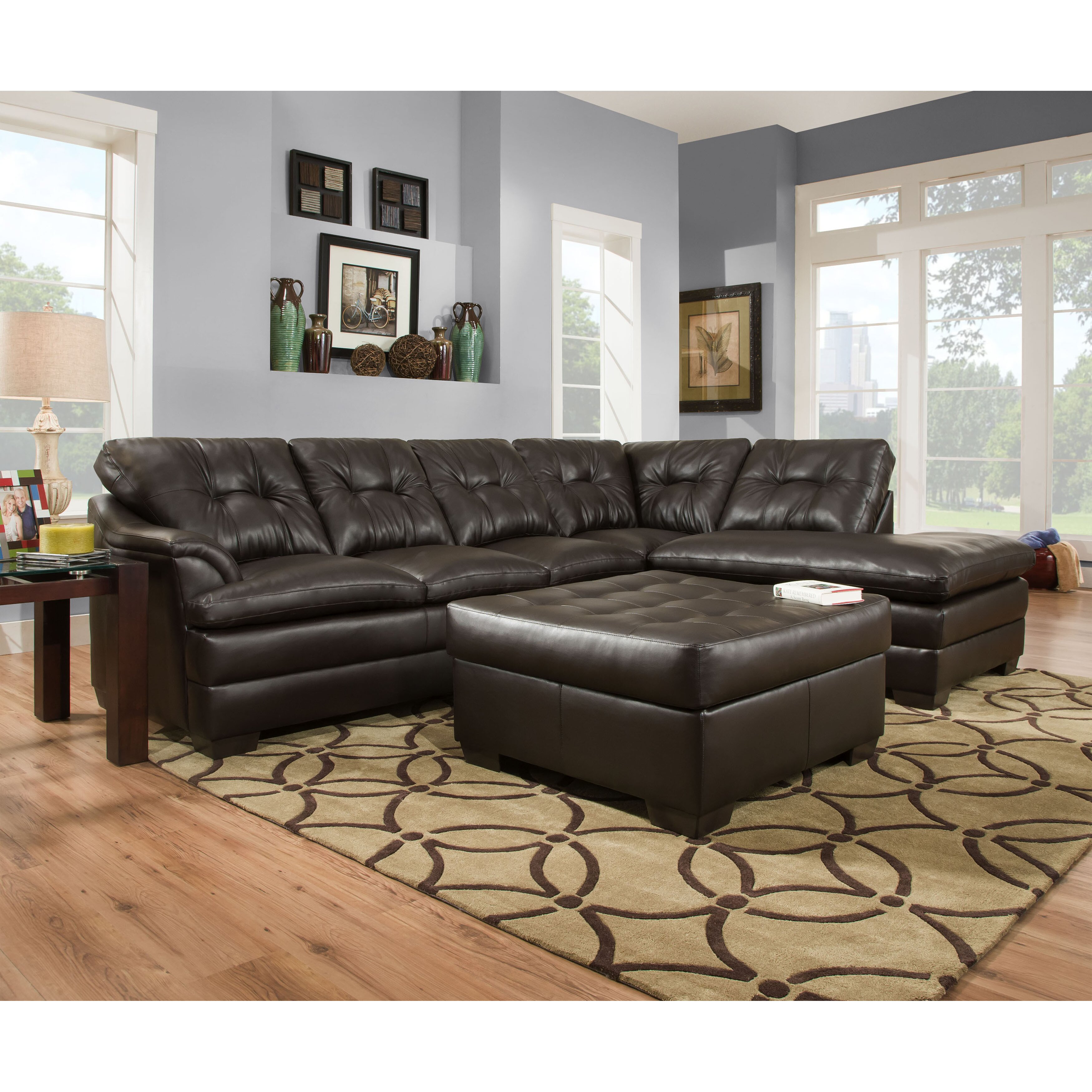 Latitude run simmons upholstery ellsworth chaise sectional for Simmons sectional sofa with chaise