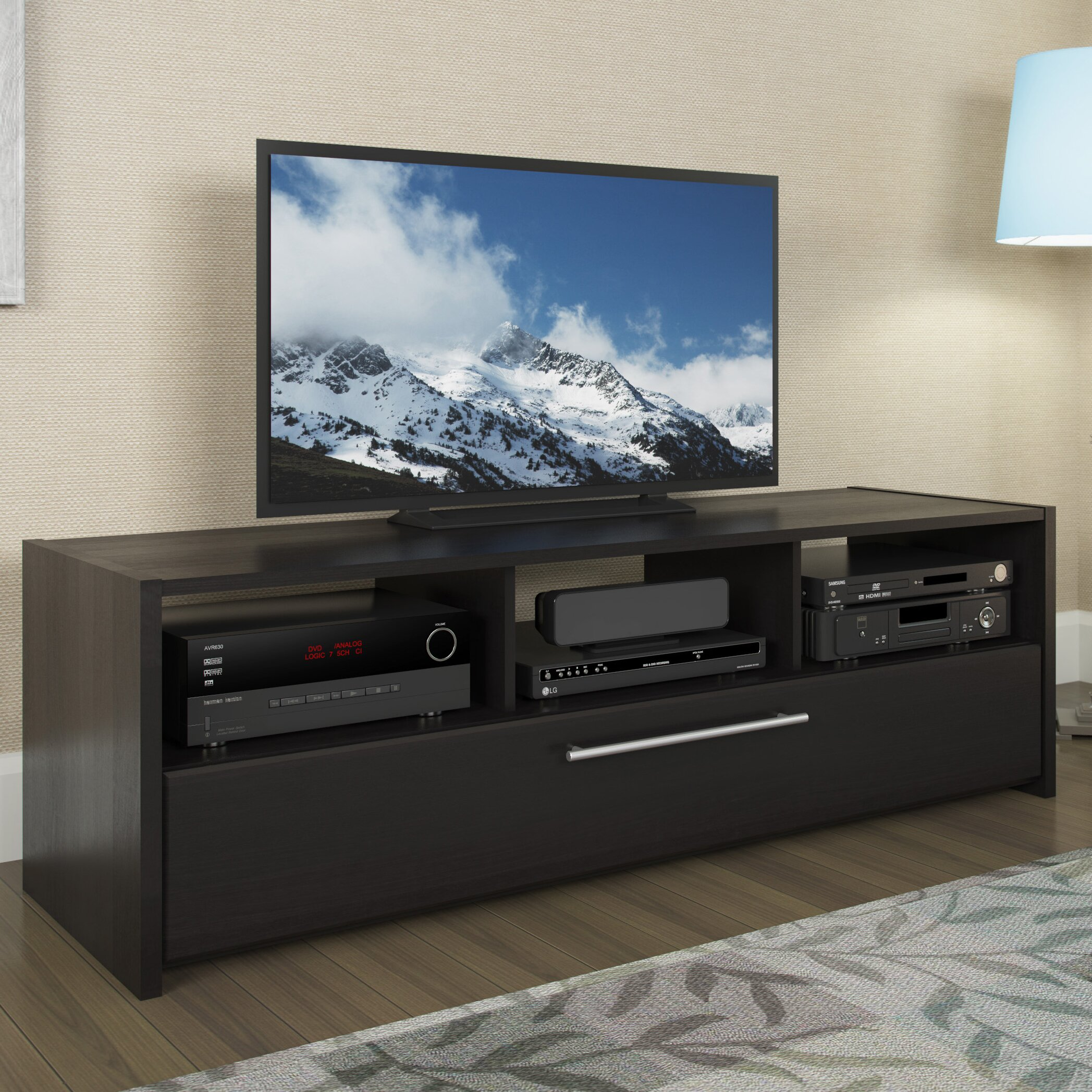 Latitude Run Black Tv Stand With Open Storage Amp Reviews