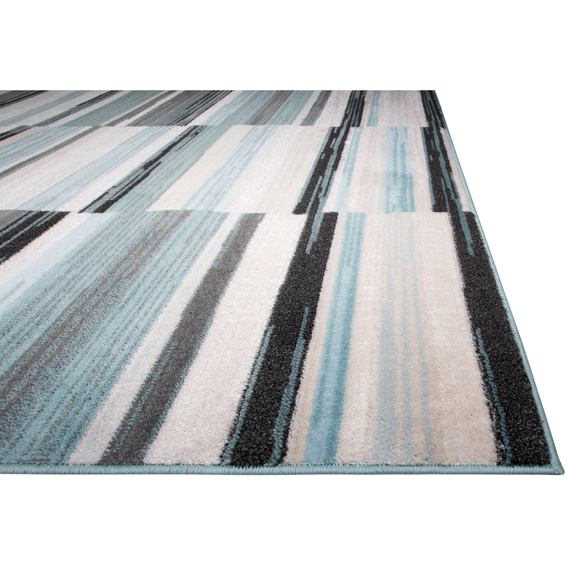 Latitude run dexter blue white area rug reviews wayfair for Blue and white area rugs