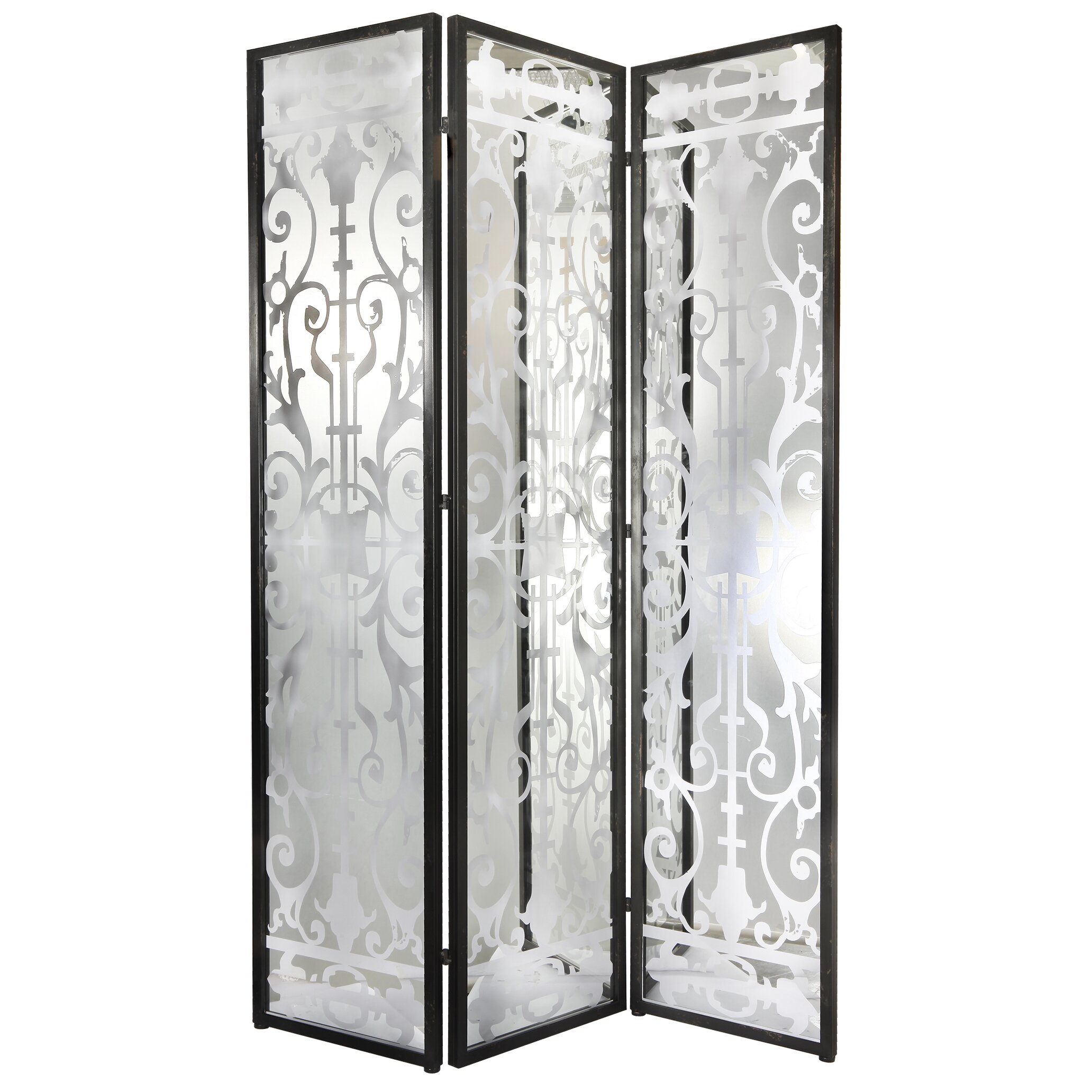 Latitude run aline 78 x 54 decorative screen glass iron for Painted screens room dividers