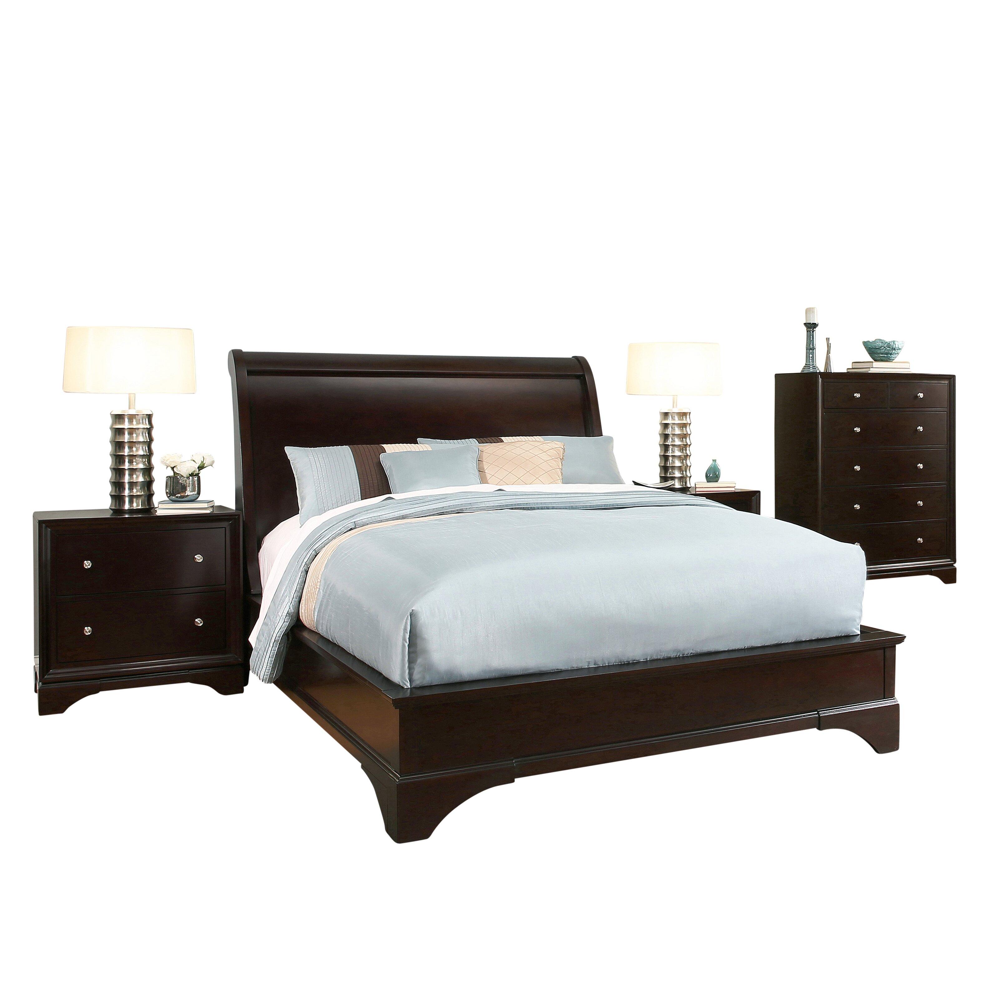Latitude run juliana sleigh 4 piece bedroom set wayfair for 4 piece bedroom furniture set