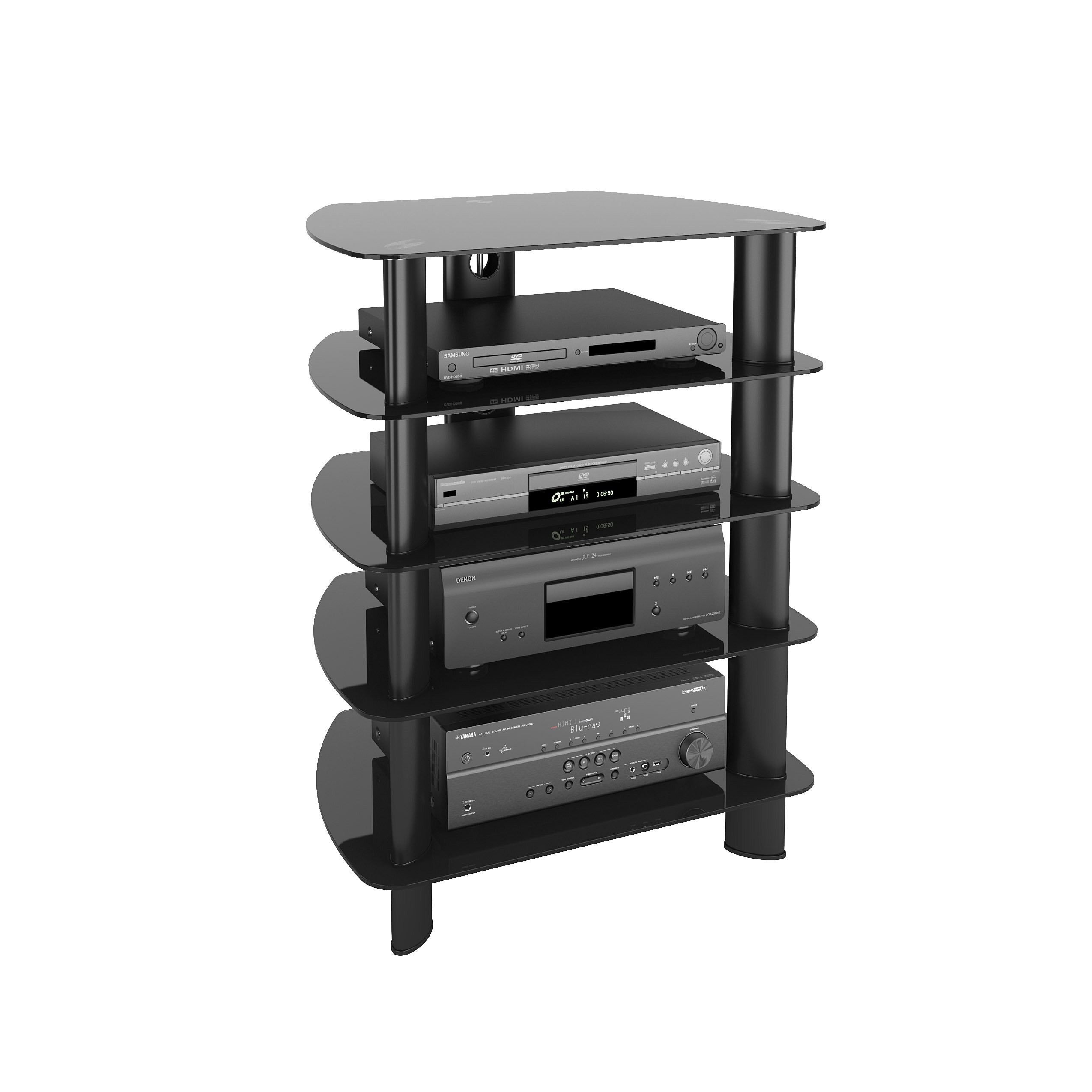 Latitude Run Norwood Glass Component Stand Audio Rack