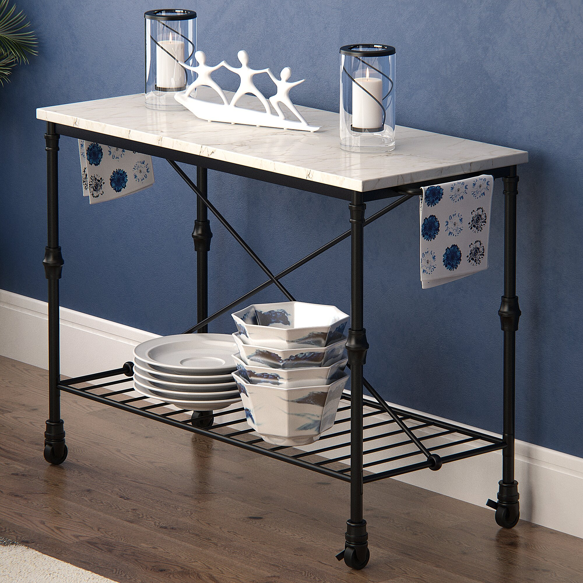 Latitude Run Kitchen Island With Metal Open Shelf