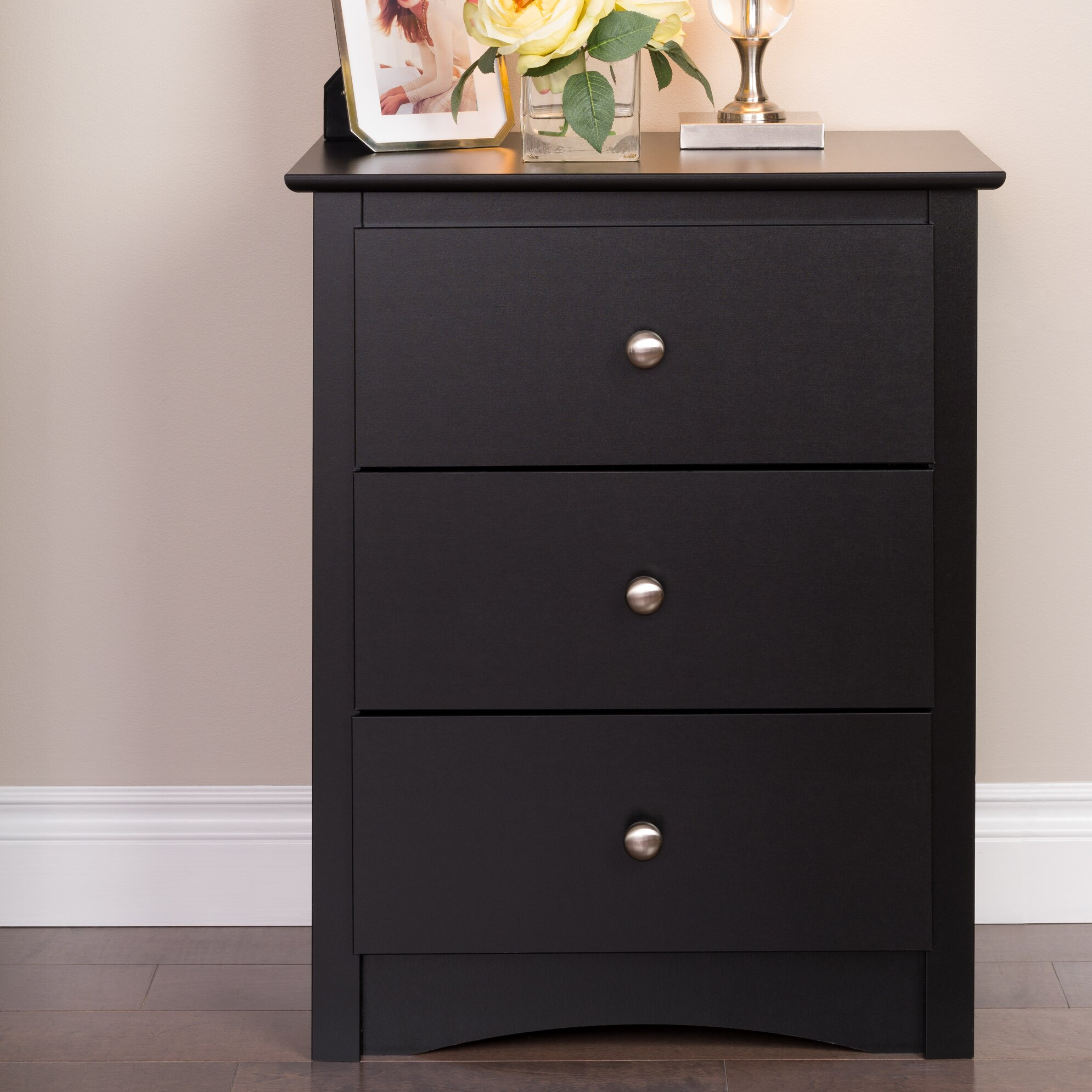 Latitude run wanda tall black 3 drawer nightstand for Extra tall nightstands
