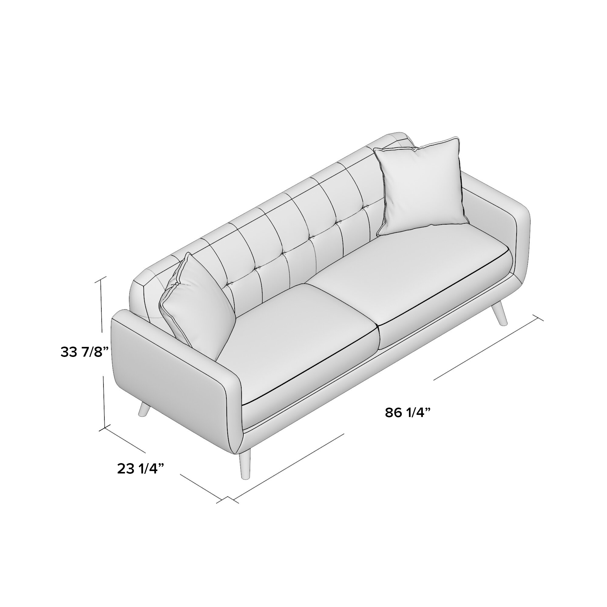 ^ Latitude un Mid entury Modern Sofa with accent pillows & eviews ...