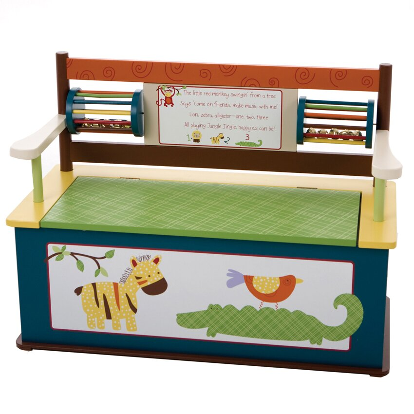 Levels Of Discovery Jungle Jingle Kids Bench With Storage Compartment Reviews Wayfair