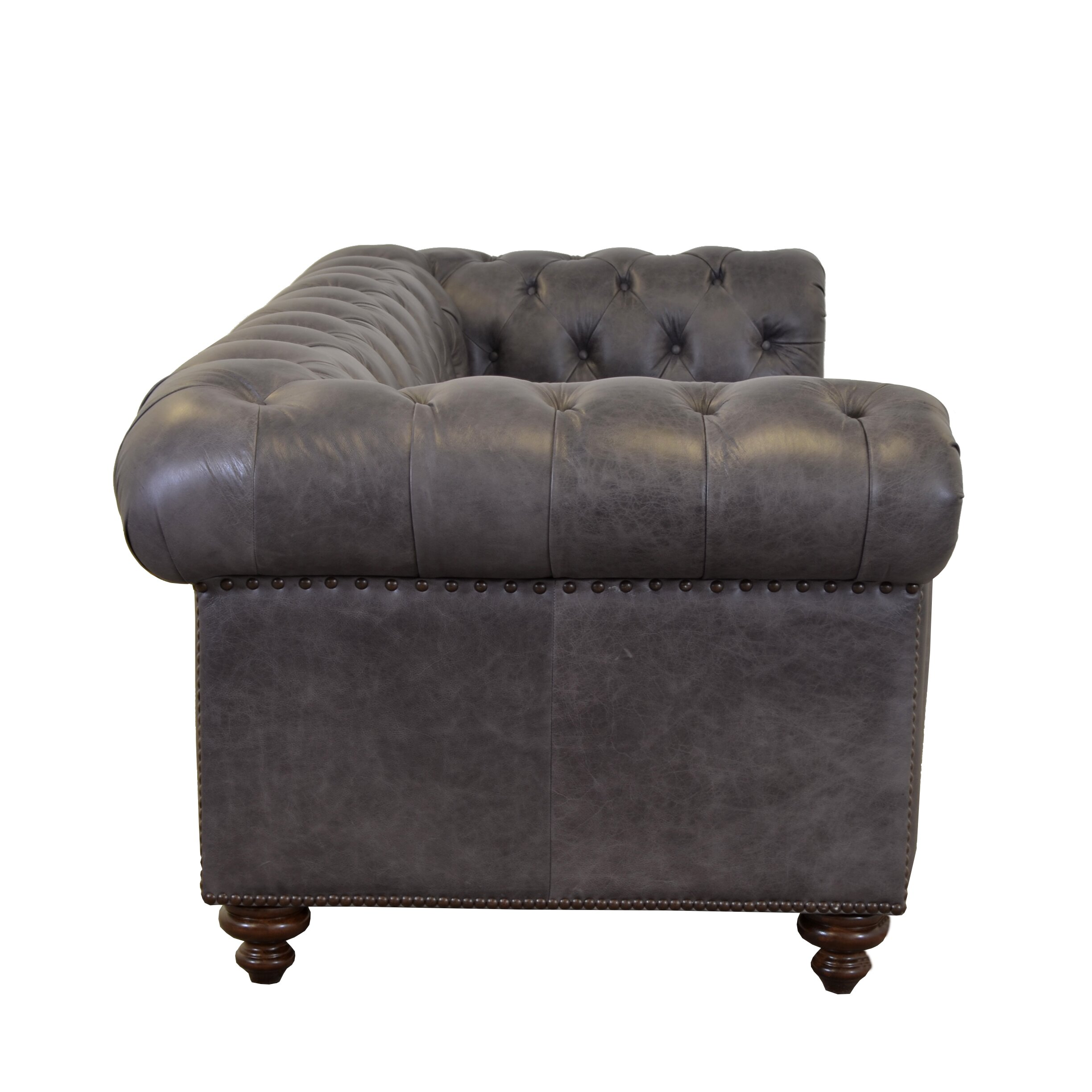 Westland And Birch Newbury Genuine Top Grain Leather Tufted Loveseat