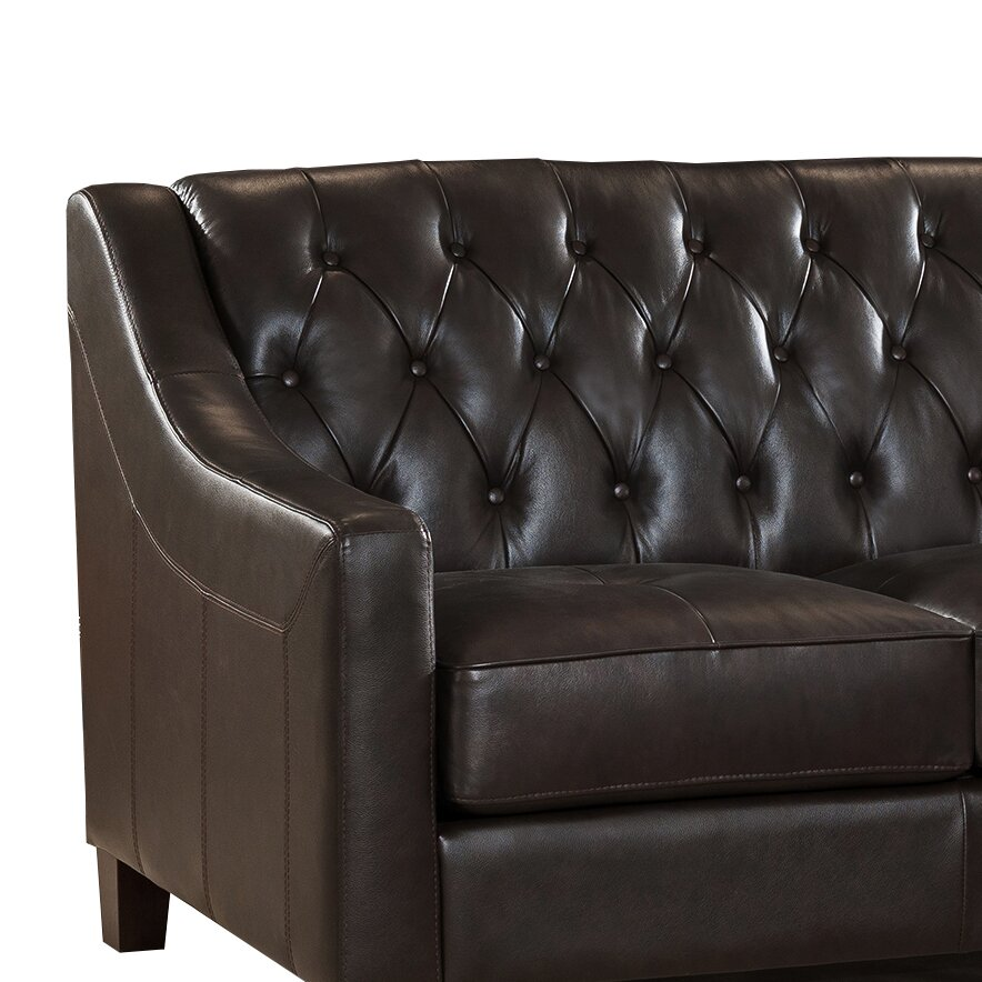 Westland And Birch Sutton Top Grain Leather Tufted Sofa