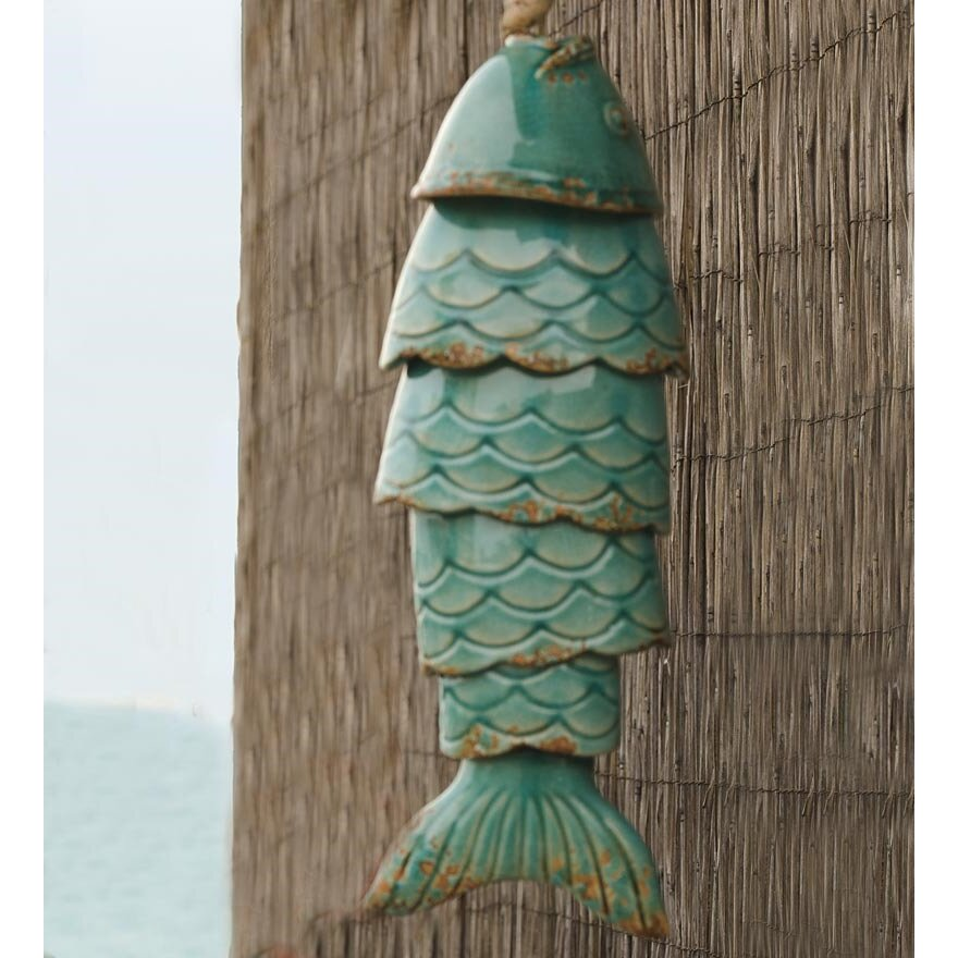 Wind weather colored porcelain koi fish wind chime for Fish wind chimes
