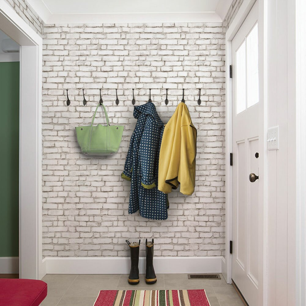 """SimpleShapes Peel and Stick 9' x 24"""" Brick Tile Wallpaper ..."""