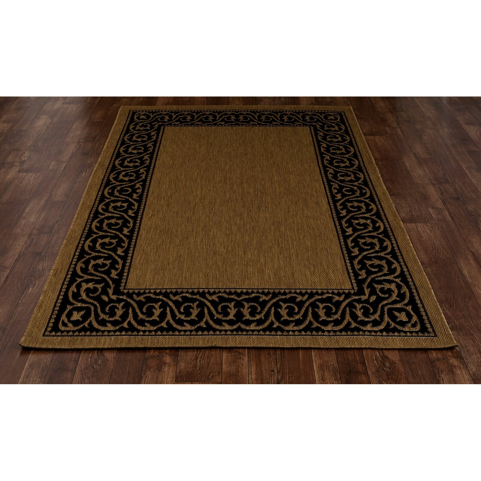 Art carpet plymouth brown black indoor outdoor area rug for Indoor out door rugs