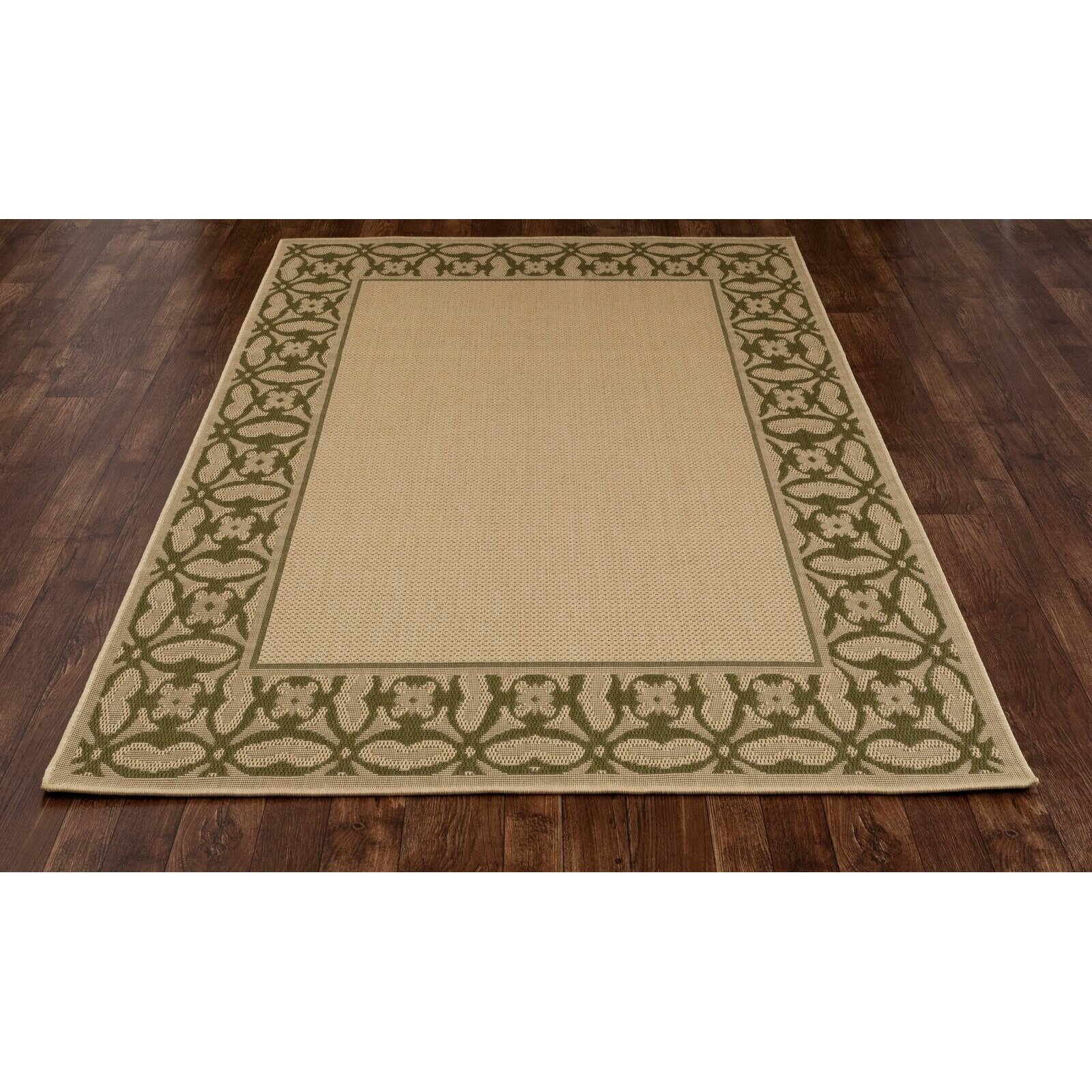 Art carpet plymouth green beige indoor outdoor area rug for Indoor outdoor carpet green