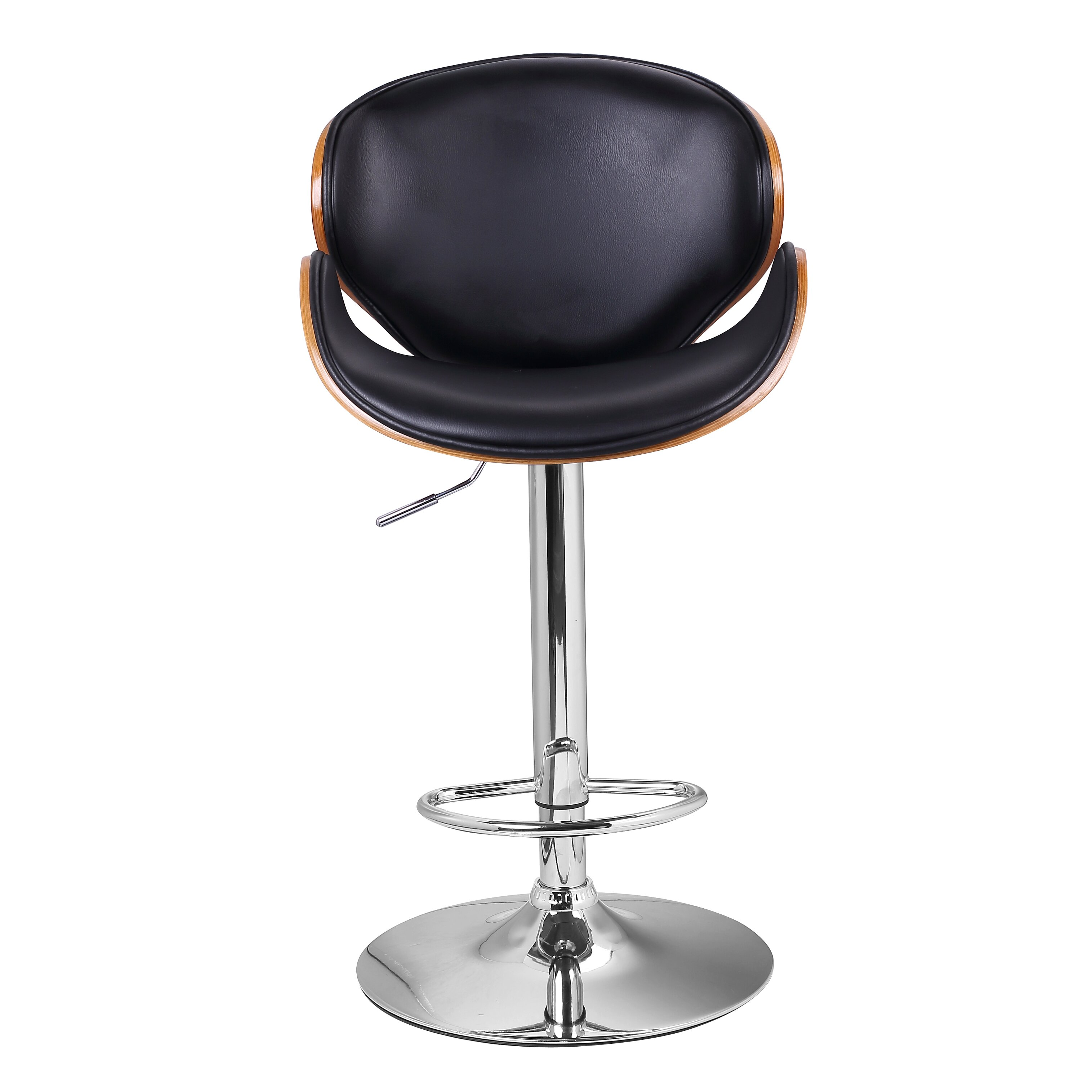 Famiscorp Bentwood Leather Adjustable Height Swivel Bar