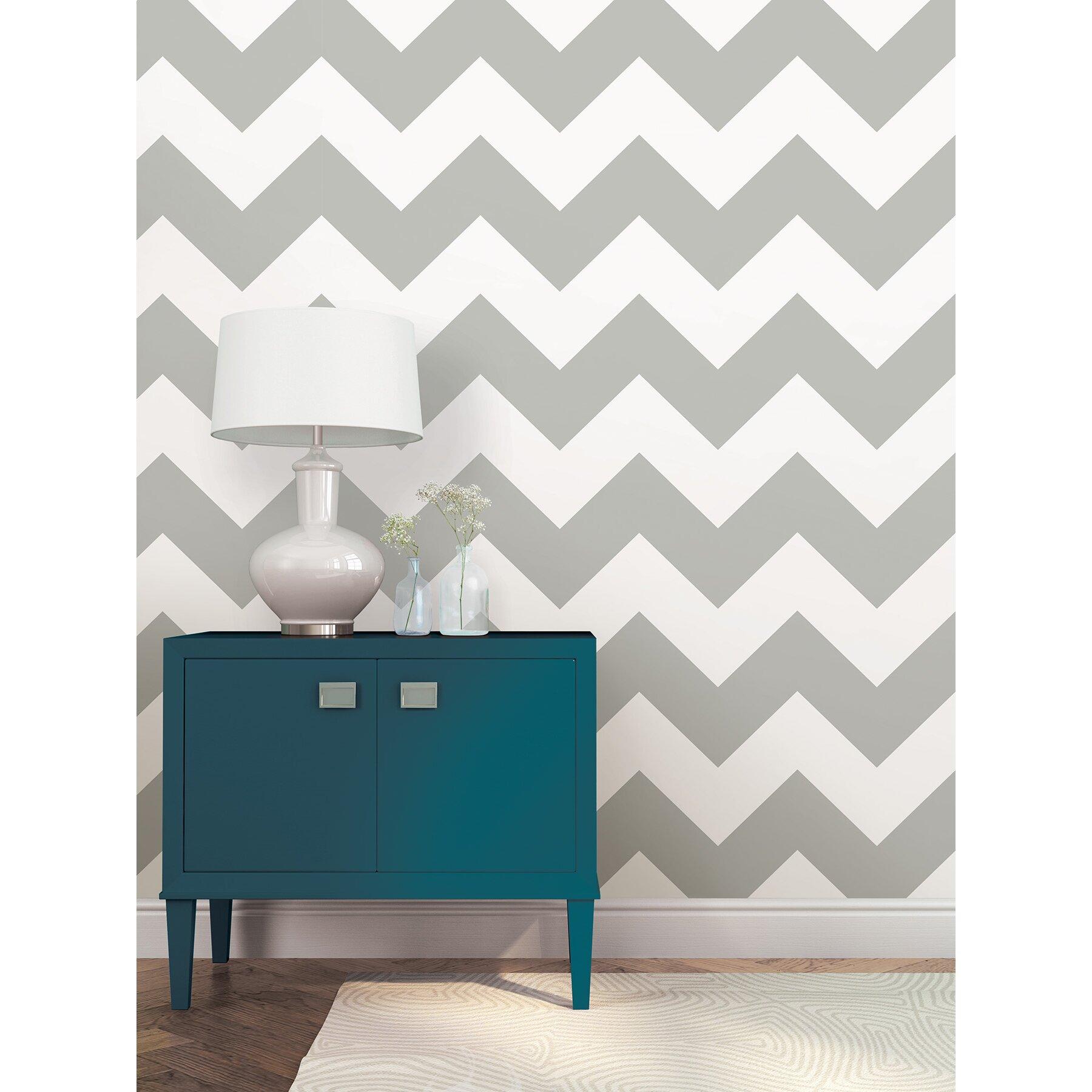 Nuwallpaper ziggy l x 52cm w chevron and herringbone for Wayfair bathroom wallpaper