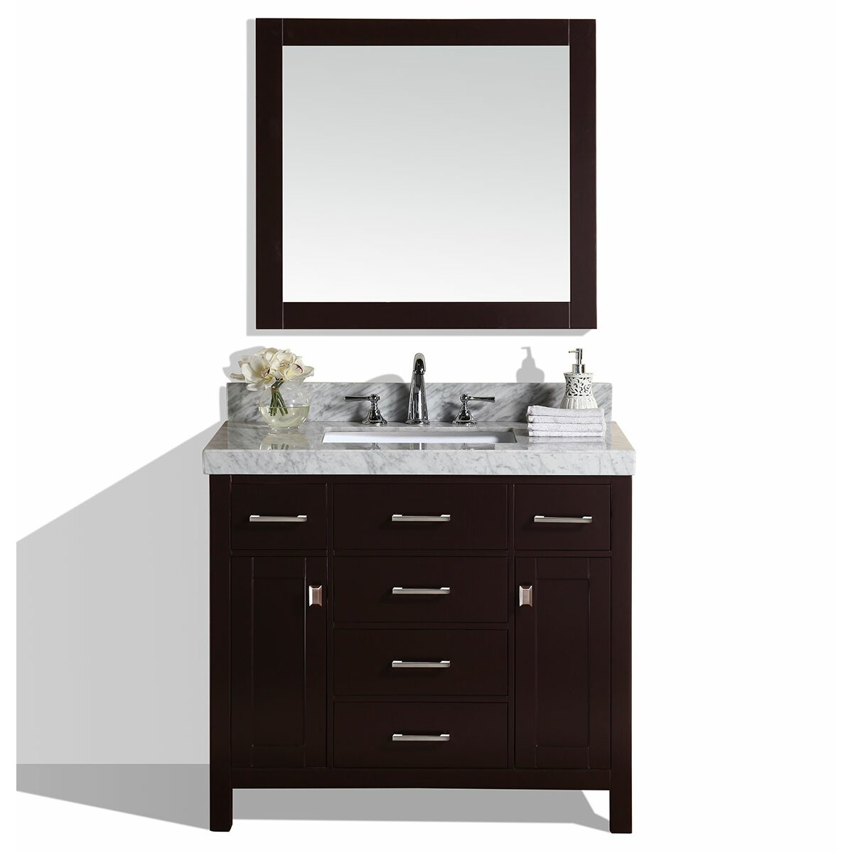 Collection Malibu 41 Single Modern Bathroom Vanity With Mirror