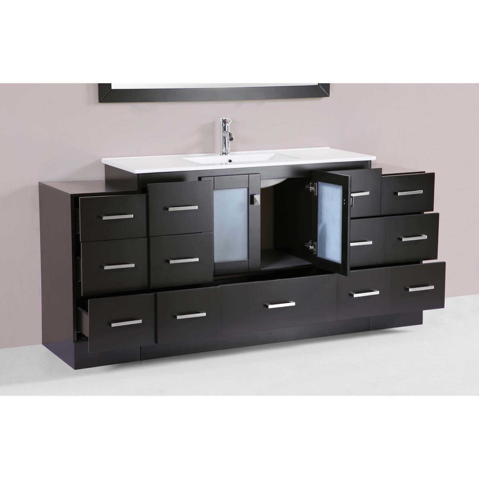 hermosa 72 single modern bathroom 2 side cabinets vanity set with