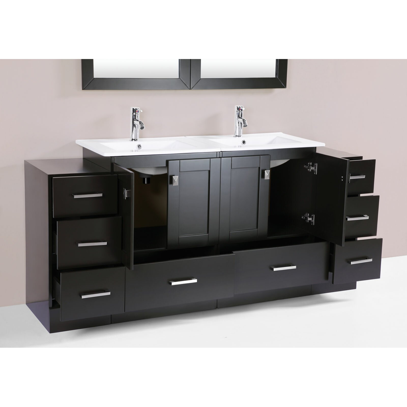 redondo 72 double modern bathroom 2 side cabinets vanity set with