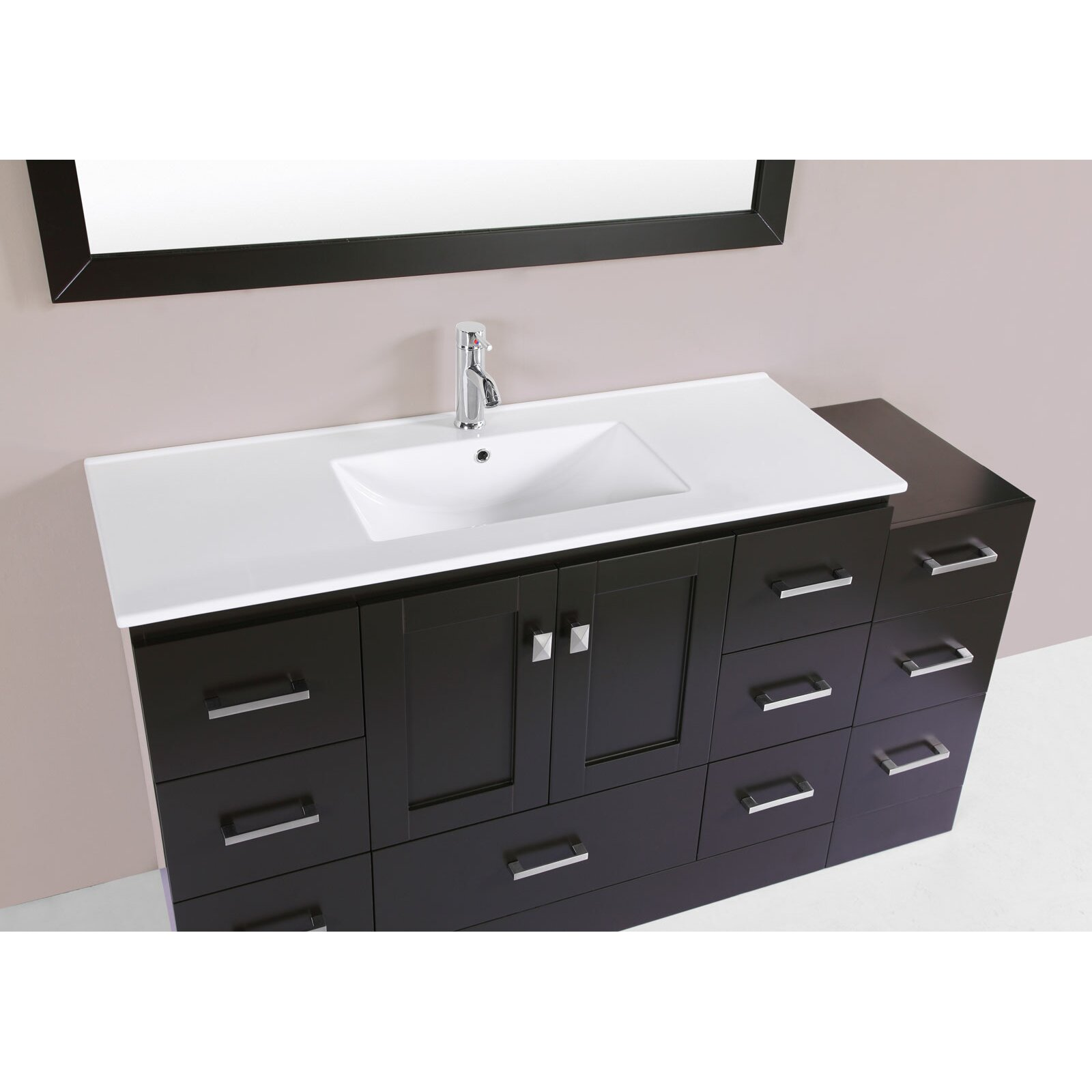redondo 60 single modern bathroom side cabinet vanity set with mirror